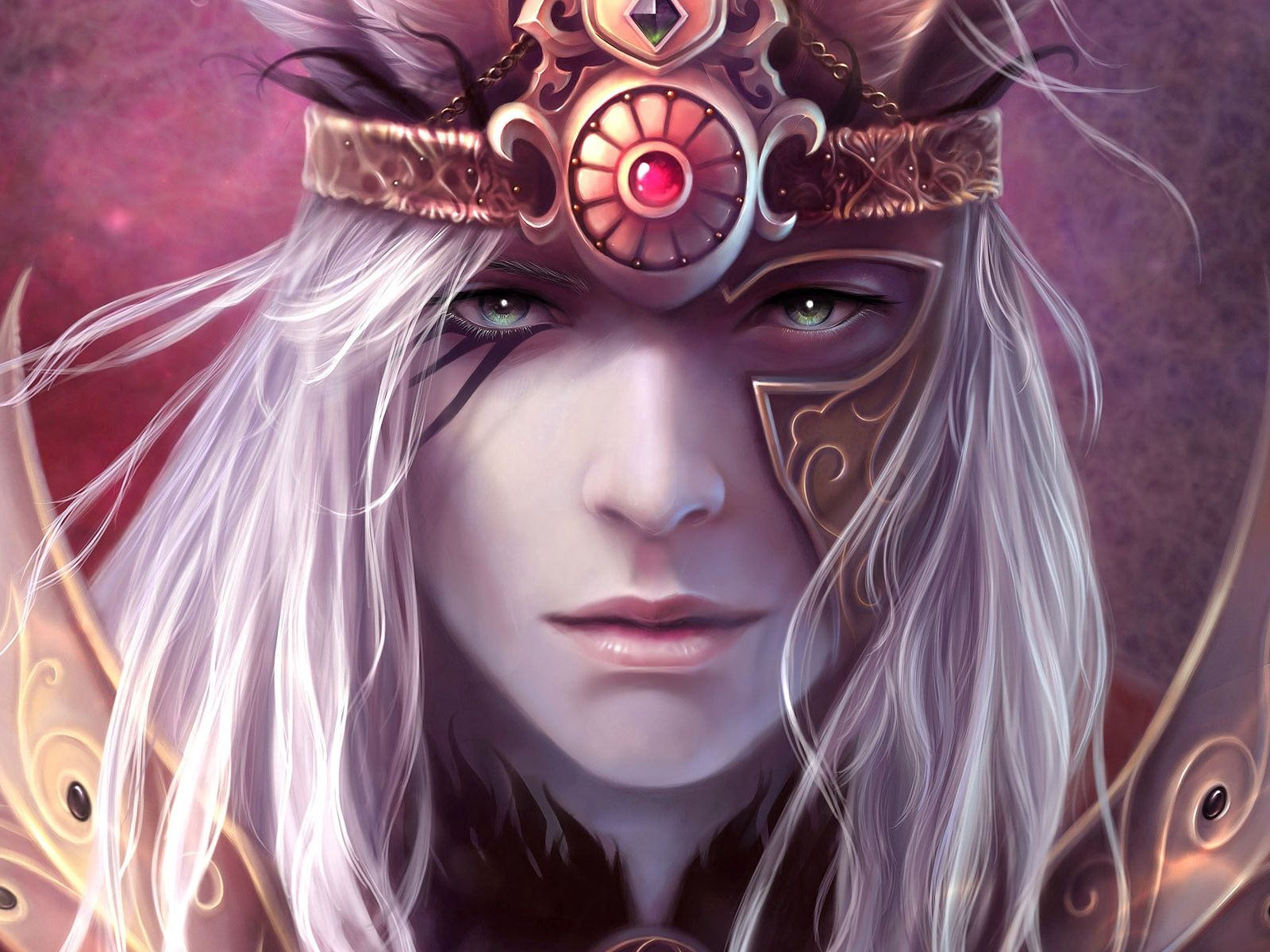 56401 download wallpaper Fantasy, Warrior, Armor, Armour, Face screensavers and pictures for free