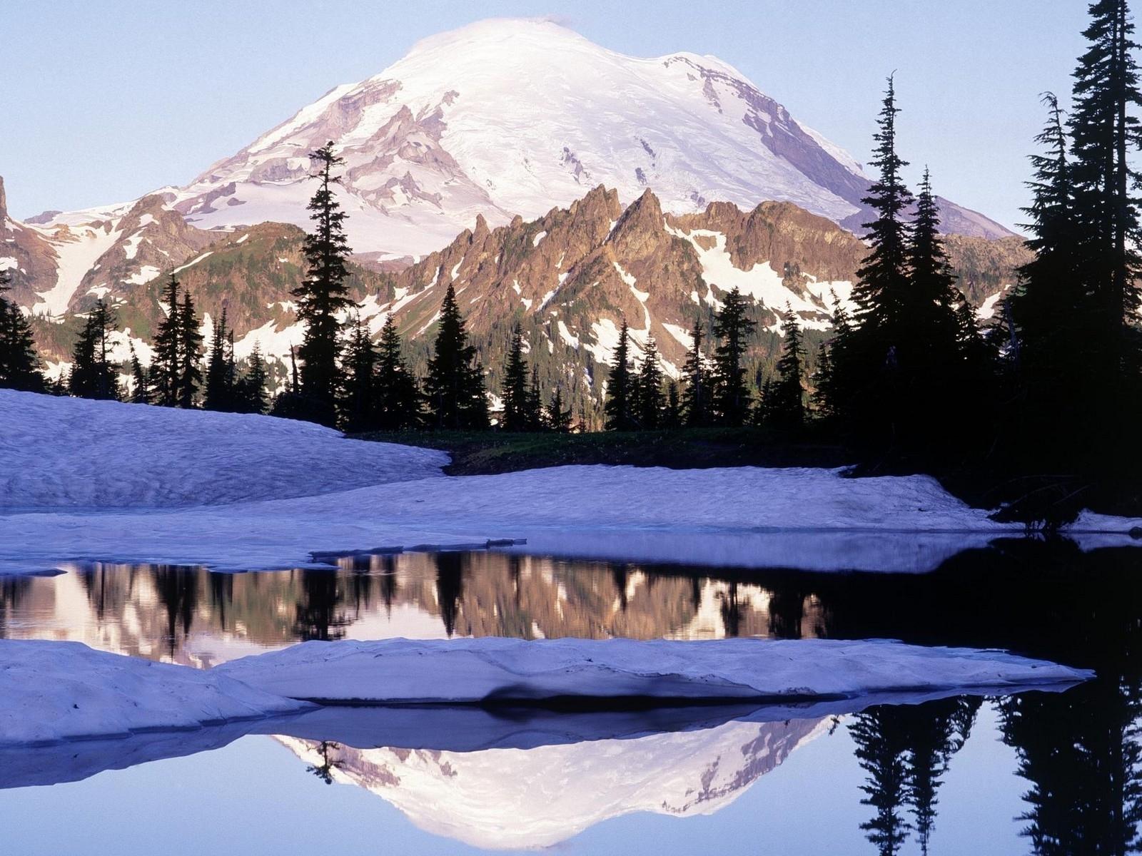 4895 скачать обои Пейзаж, Зима, Вода, Река, Деревья, Горы - заставки и картинки бесплатно