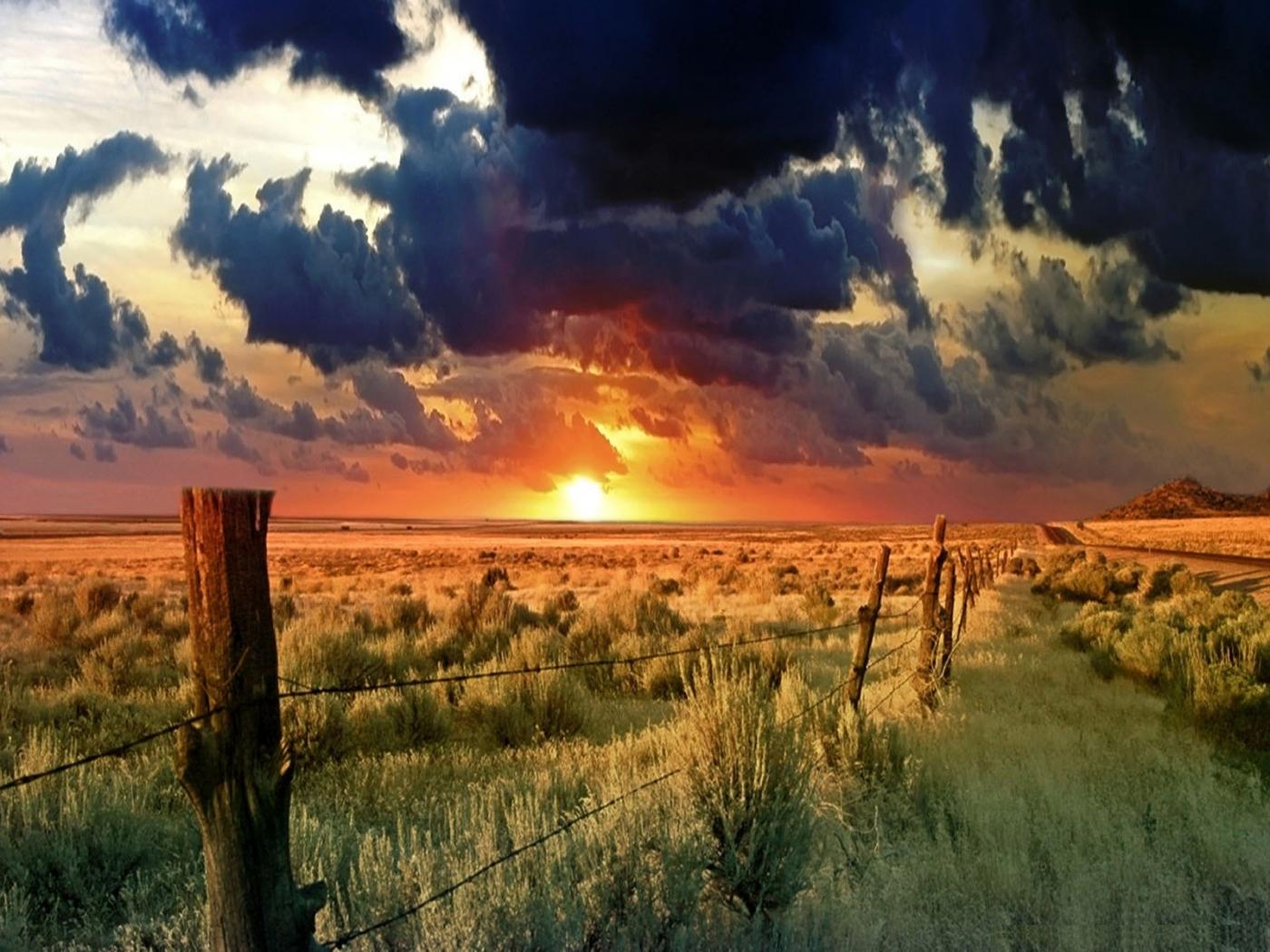 37405 скачать обои Пейзаж, Закат, Поля, Облака - заставки и картинки бесплатно