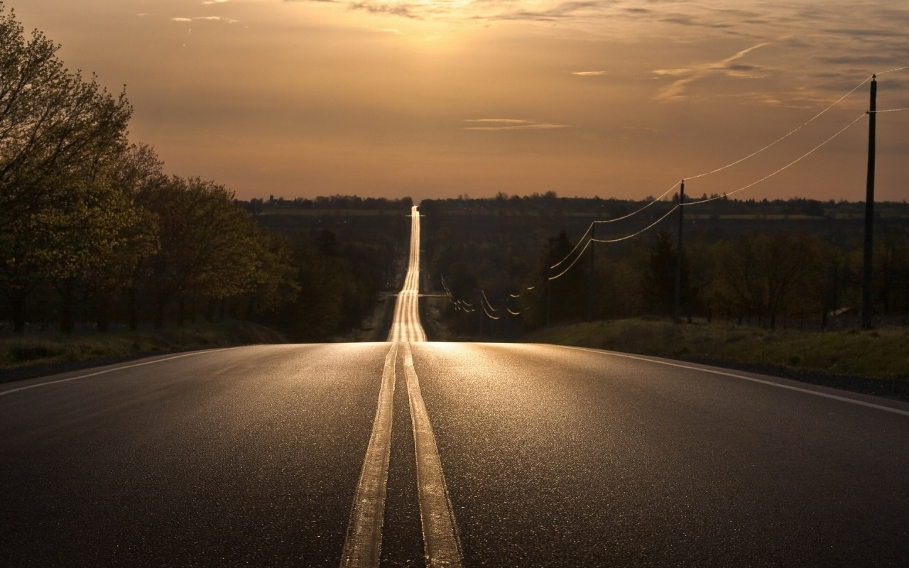 19295 download wallpaper Landscape, Sunset, Roads screensavers and pictures for free