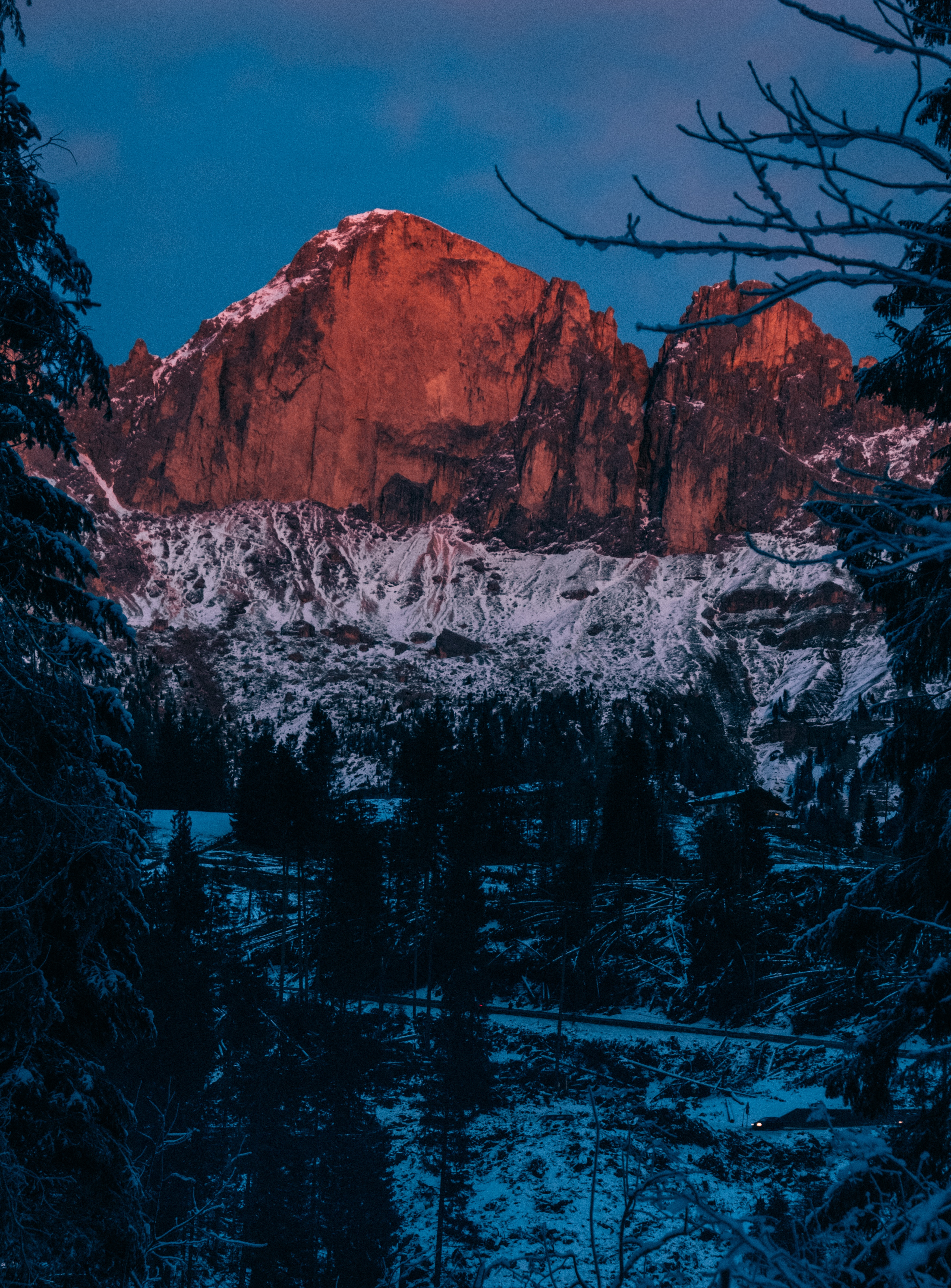 137783 download wallpaper Nature, Mountain, Winter, Branches, Snow, Dusk, Twilight screensavers and pictures for free