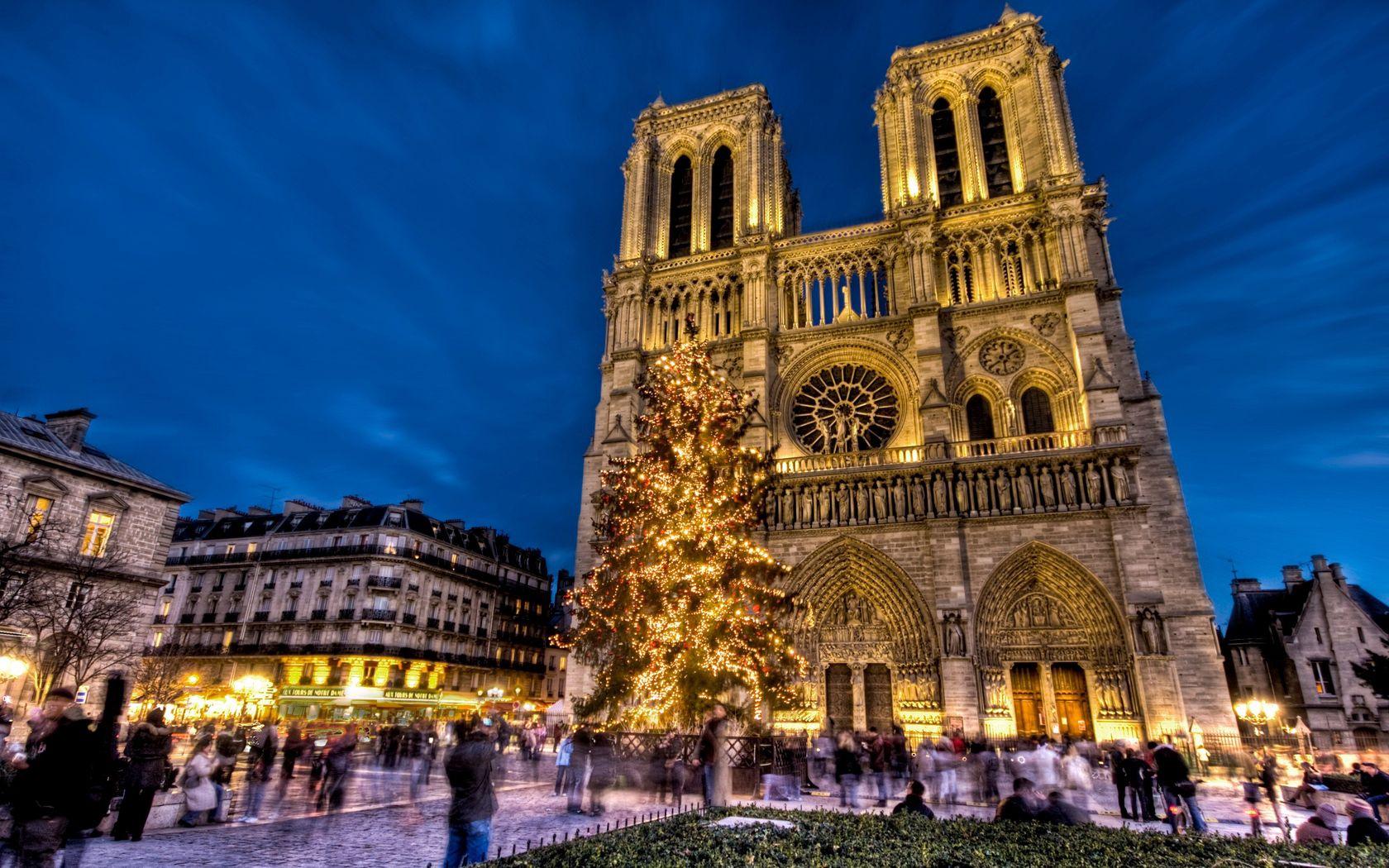 105938壁紙のダウンロードノートルダム大聖堂, ノートルダム・ド・パリ, パリ, フランス, 範囲, 正方形, 新年, クリスマスツリー, 休日, 都市-スクリーンセーバーと写真を無料で