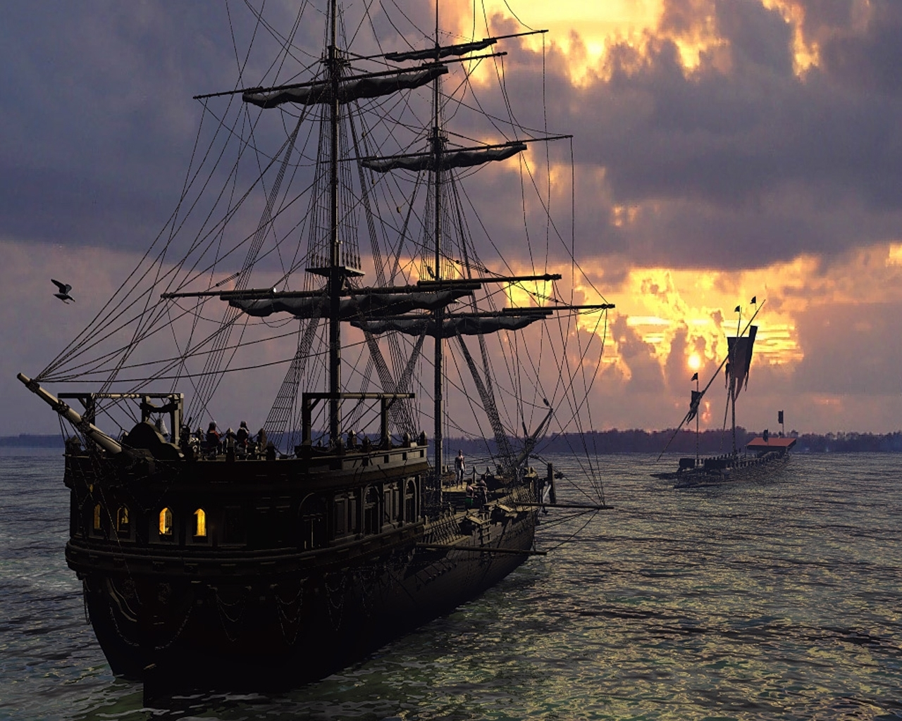 4190 download wallpaper Transport, Water, Sky, Art, Ships, Sea screensavers and pictures for free