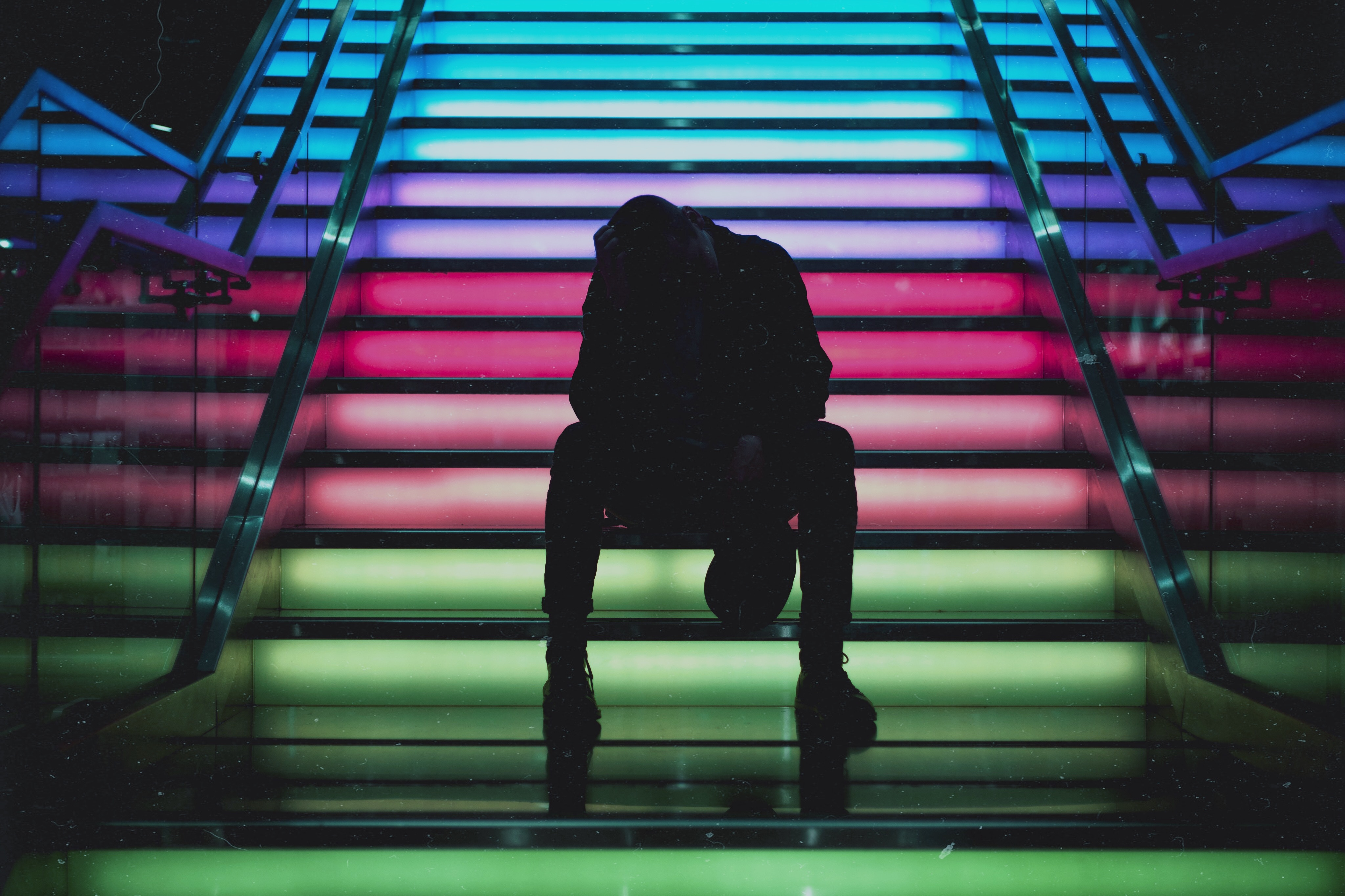 51770 download wallpaper Dark, Multicolored, Motley, Stairs, Ladder, Human, Person screensavers and pictures for free