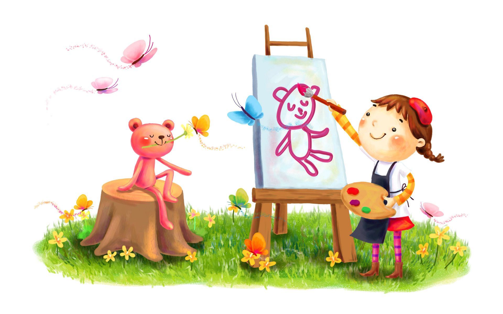 101633 download wallpaper Miscellanea, Miscellaneous, Picture, Drawing, Girl, Animal, Beast, Smile, Painting, Paints, Brush, Butterflies, Lawn, Summer, Flowers screensavers and pictures for free