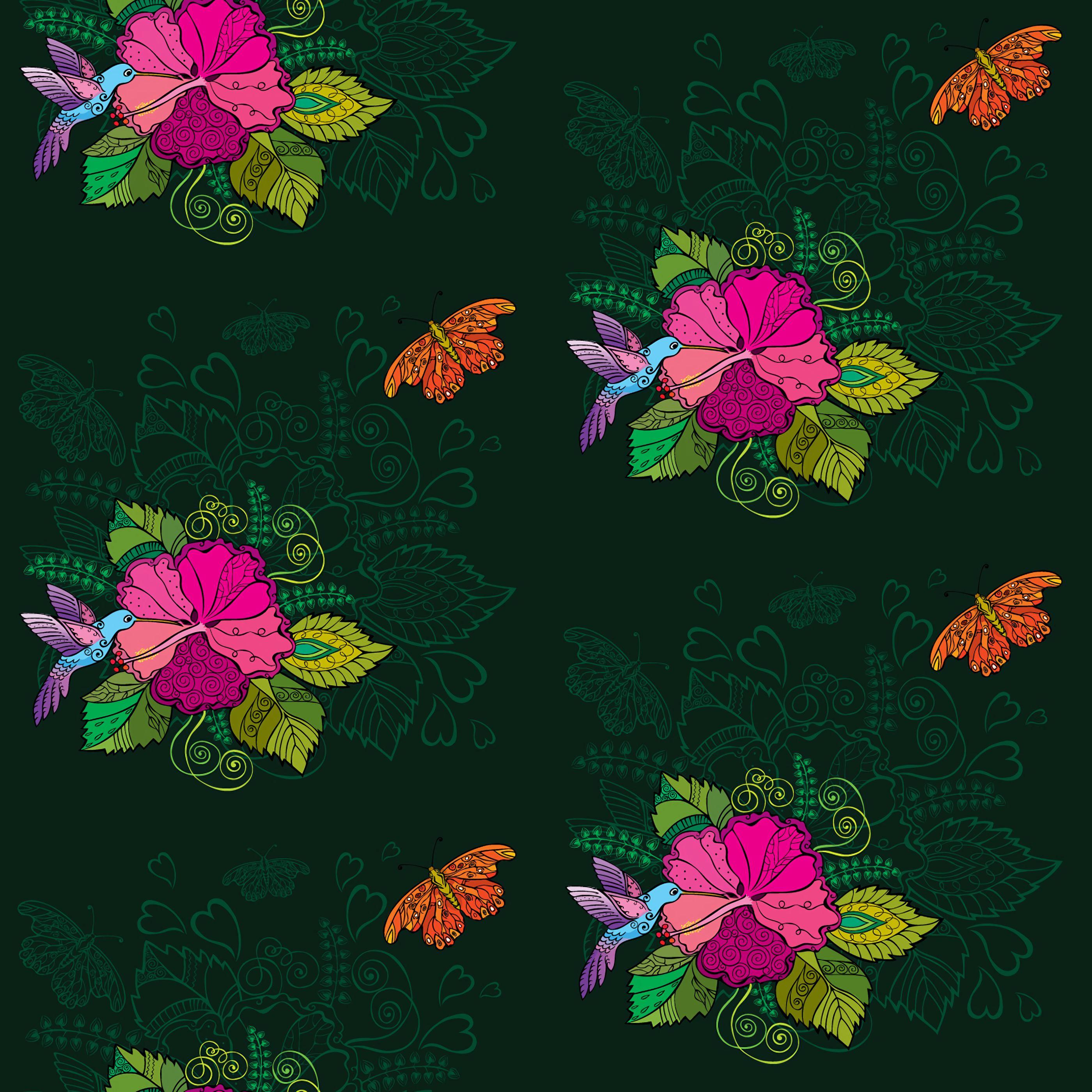 51985 скачать обои Узоры, Вектор, Птицы, Цветы, Колибри - заставки и картинки бесплатно