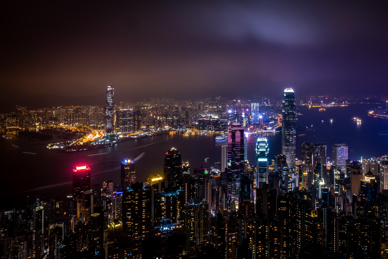 54794 Заставки и Обои Города на телефон. Скачать Гонконг, Китай, Небоскребы, Ночной Город, Огни Города, Города картинки бесплатно