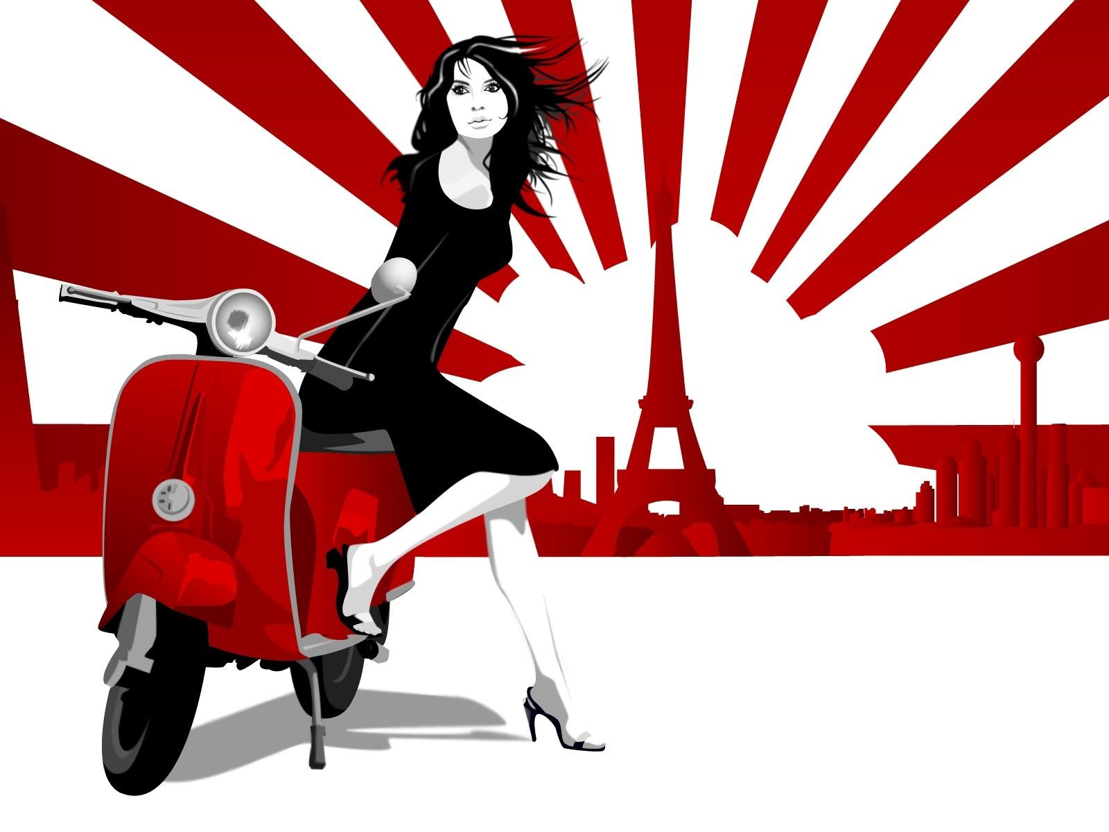 57314 télécharger le fond d'écran Vecteur, Fille, Scooter, Trottinette, Paris, Flâner, Promenade, Lignes, Tour Eiffel - économiseurs d'écran et images gratuitement