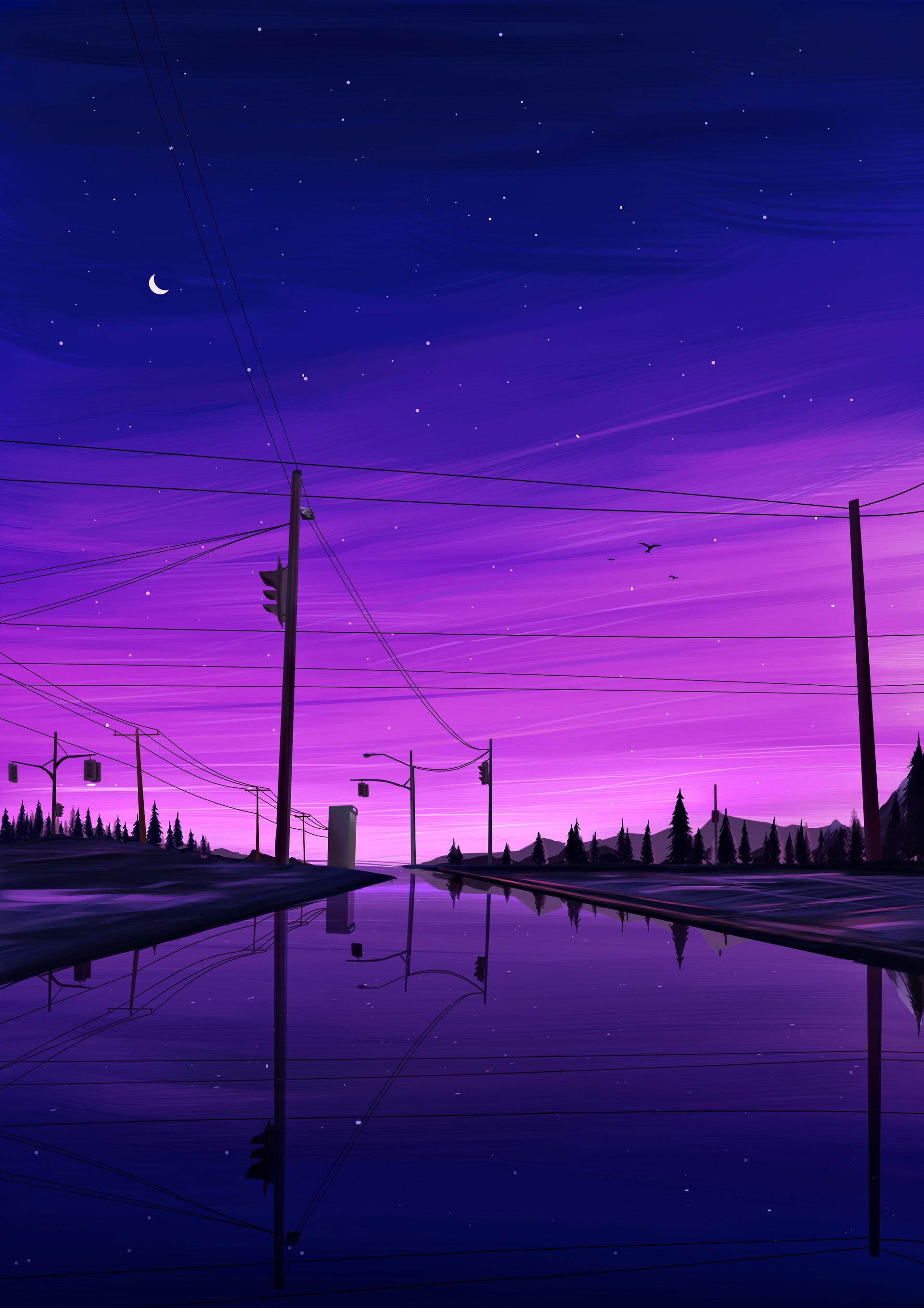 137245 download wallpaper Night, Landscape, Art, Dark screensavers and pictures for free