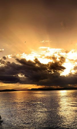 23366 скачать обои Пейзаж, Закат, Облака, Озера - заставки и картинки бесплатно