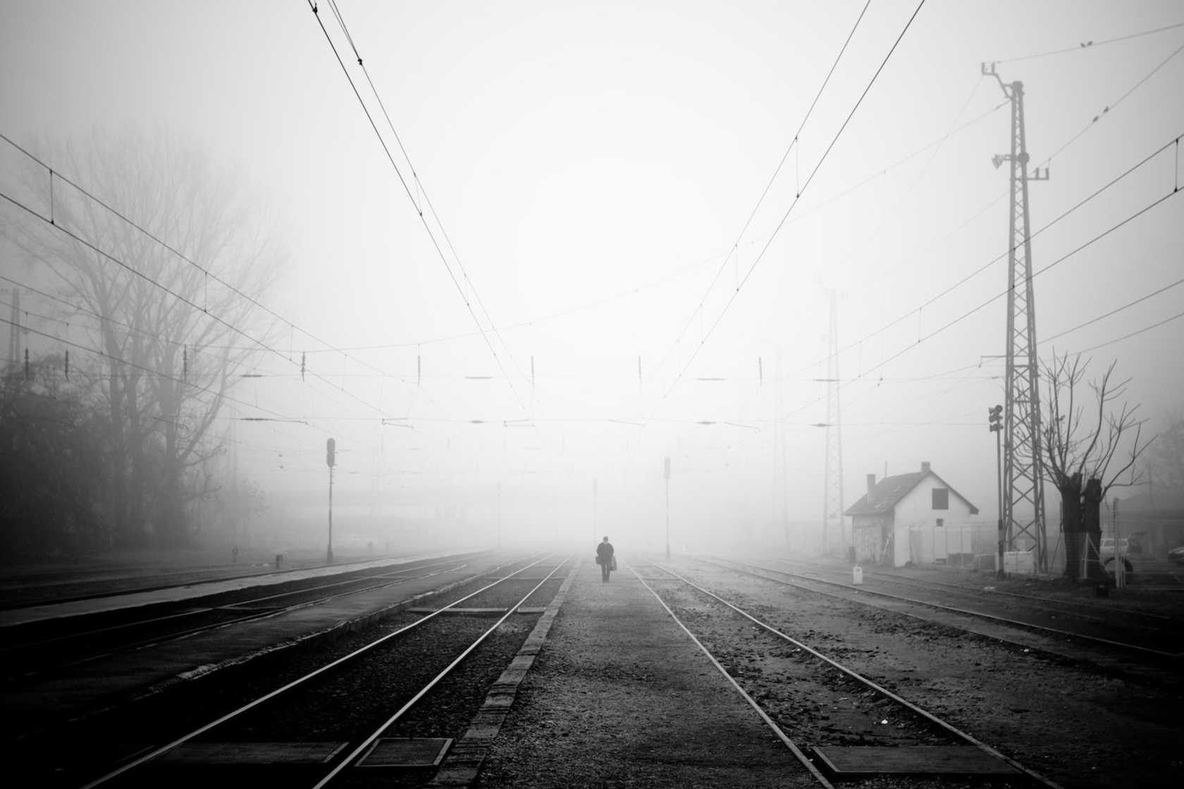127156 download wallpaper Miscellanea, Miscellaneous, Railway, Fog, Evening, Loneliness, Bw, Chb screensavers and pictures for free