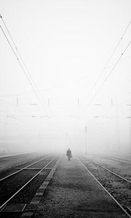 127156壁紙のダウンロードその他, 雑, 鉄道, 霧, イブニング, 夕方, 孤独, 寂しさ, Bw, Chb-スクリーンセーバーと写真を無料で