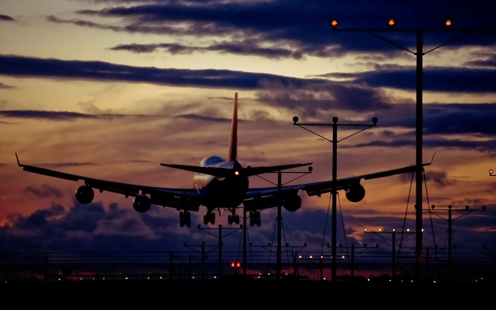 106988 download wallpaper Miscellanea, Miscellaneous, Plane, Airplane, Sky, Traffic, Movement, Night screensavers and pictures for free