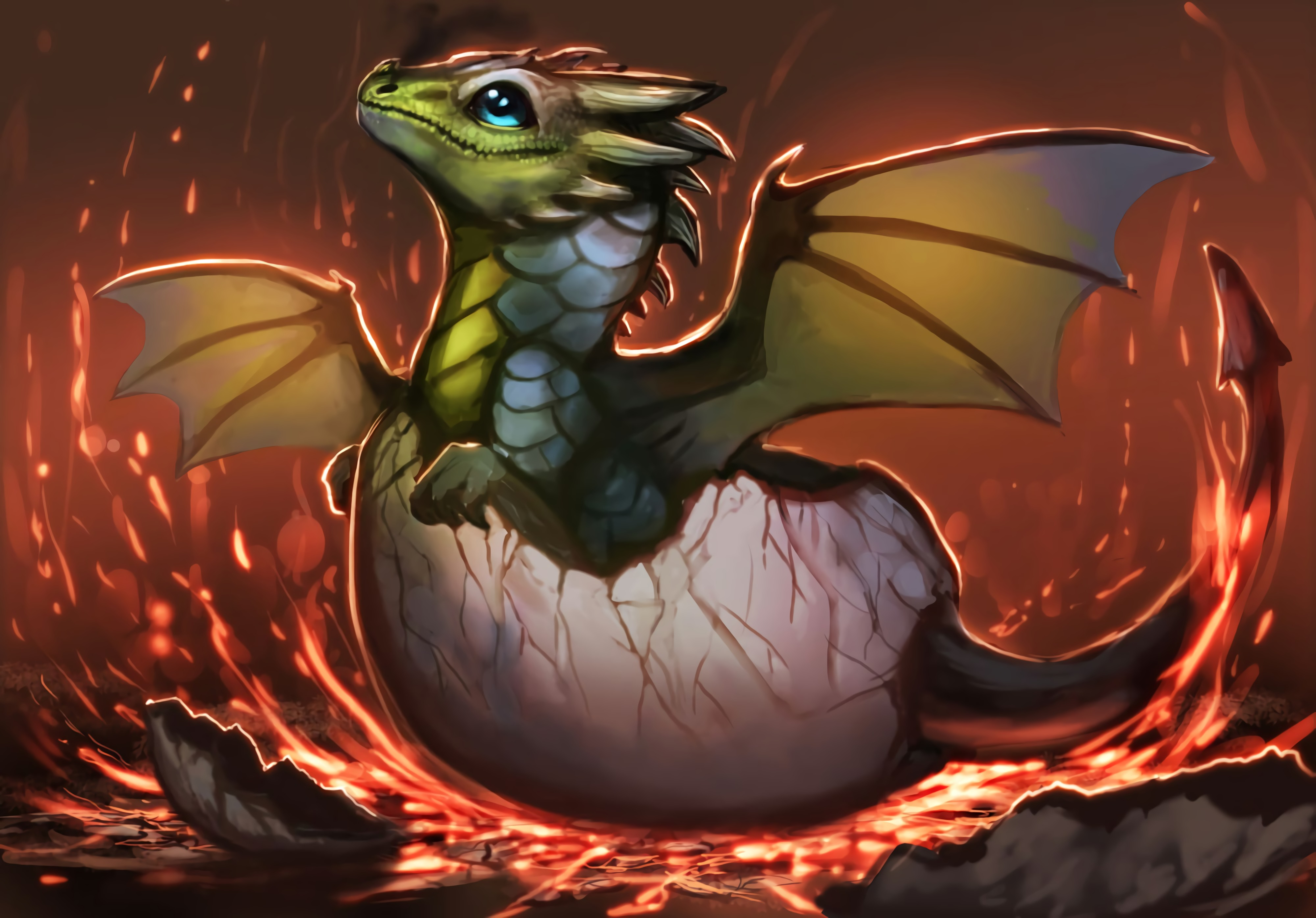 144224 download wallpaper Dragon, Egg, Shell, Art screensavers and pictures for free