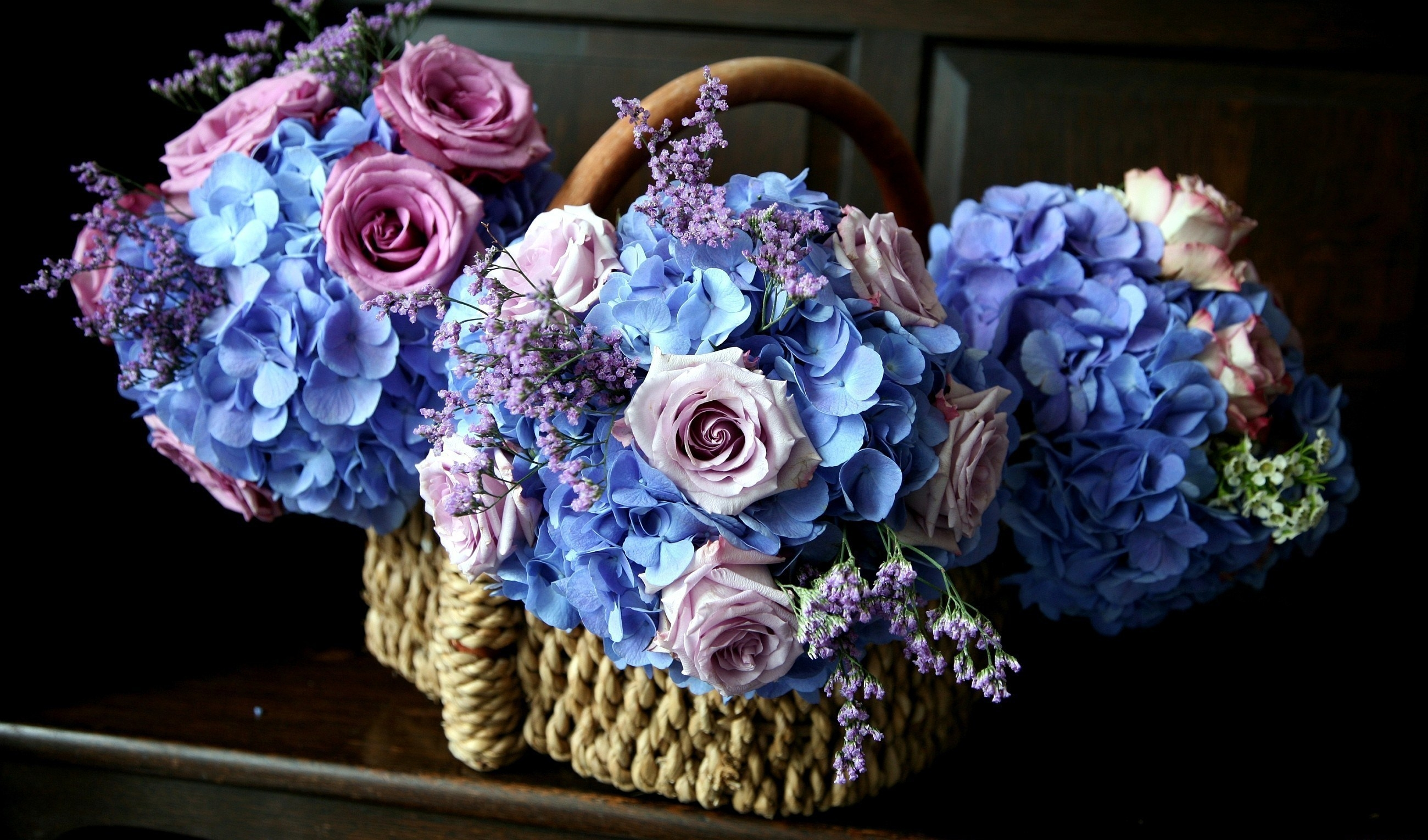 95762 download wallpaper Flowers, Roses, Bouquets, Beauty, Basket, Hydrangea screensavers and pictures for free