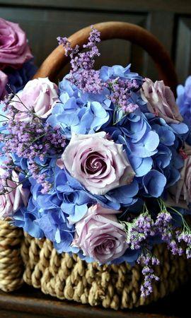 95762 télécharger le fond d'écran Fleurs, Hortensia, Panier, Beauté, Roses, Bouquets - économiseurs d'écran et images gratuitement