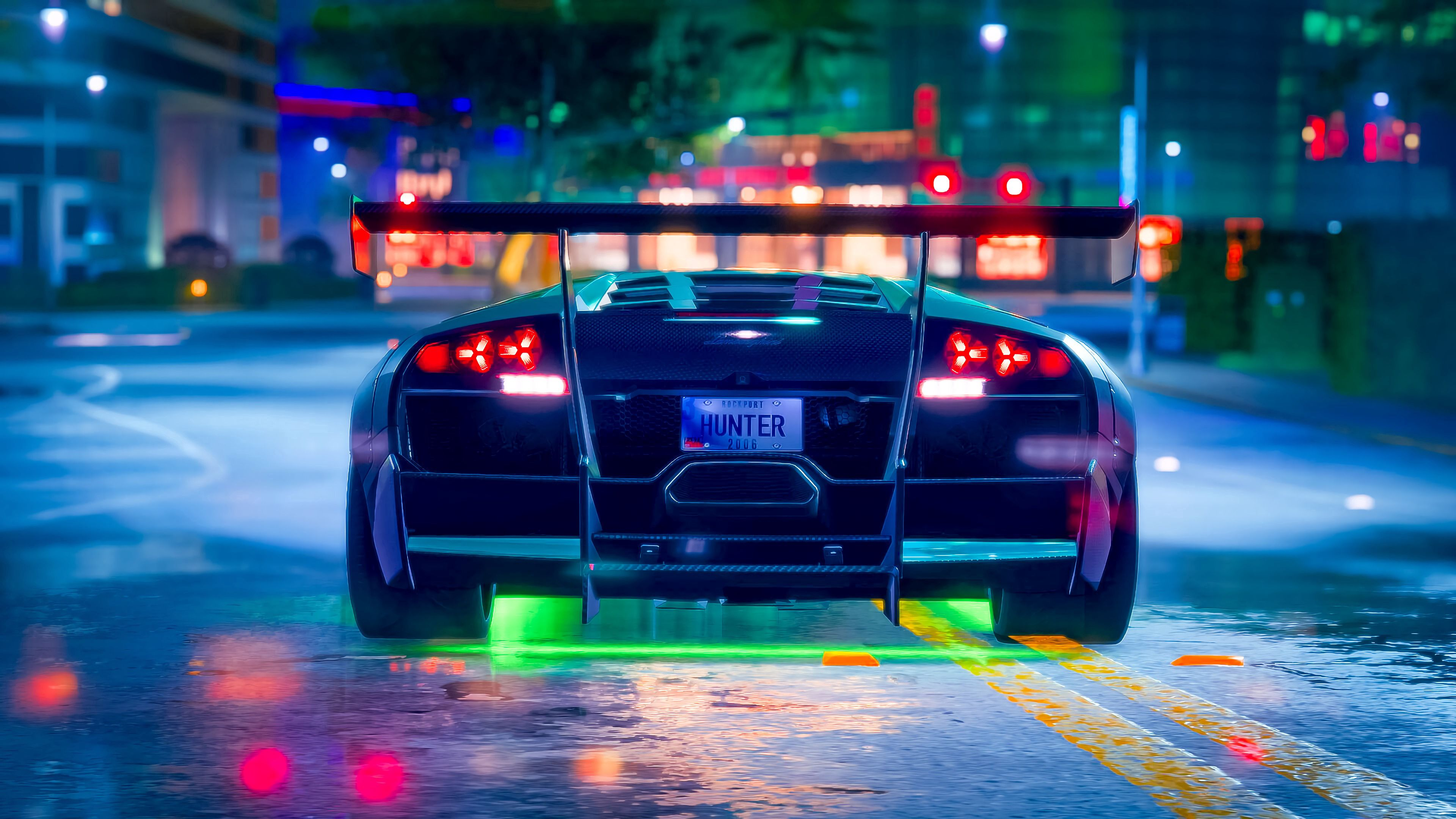 119436 download wallpaper Cars, Car, Machine, Sports Car, Sports, Neon, Backlight, Illumination, Road screensavers and pictures for free