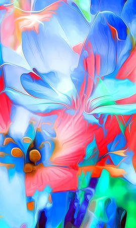 123818 télécharger le fond d'écran Abstrait, Le Rendu, Interprétation, Art, Lignes, Brillant, Fleurs - économiseurs d'écran et images gratuitement