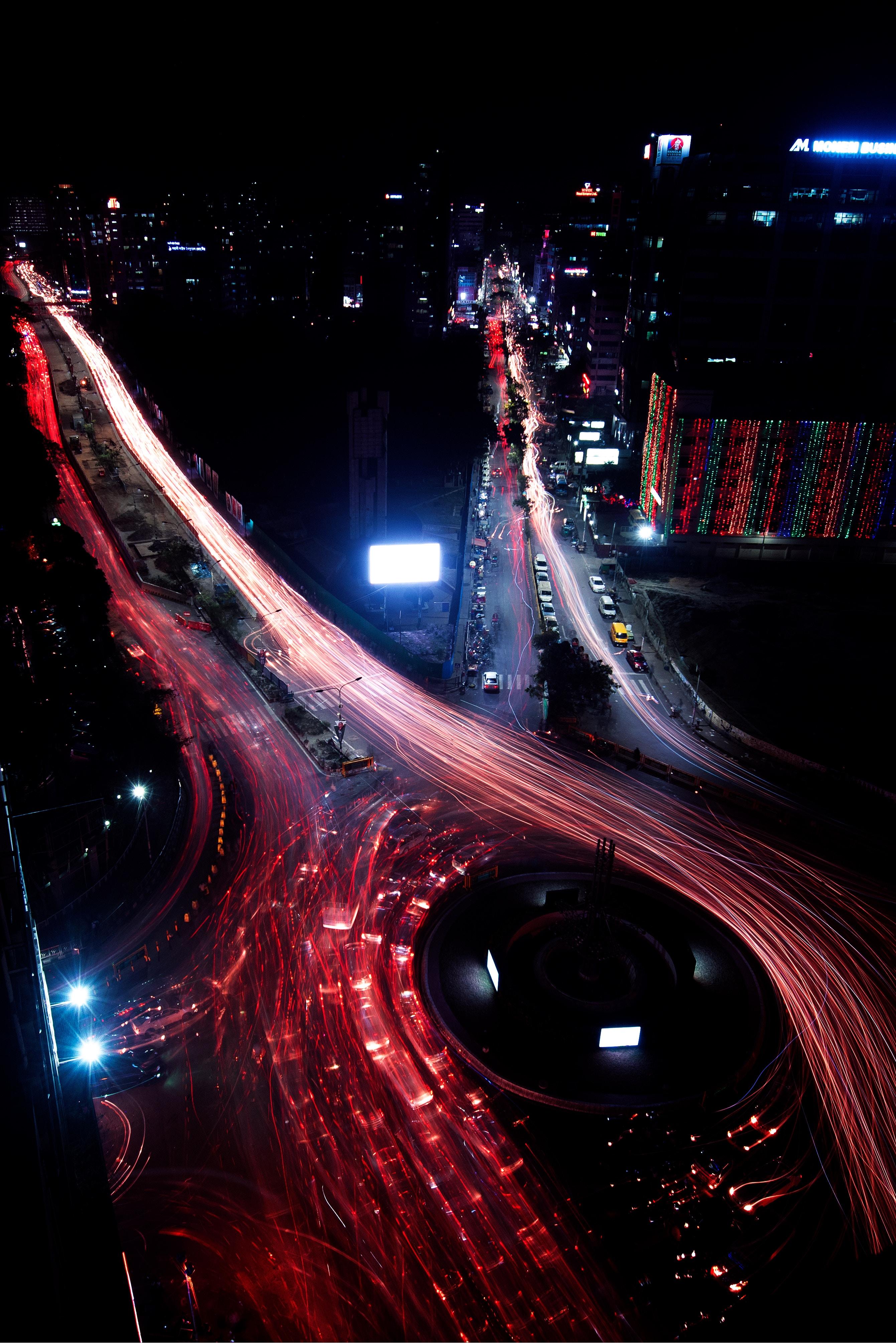 74420 Hintergrundbild herunterladen Städte, Roads, Übernachtung, Blick Von Oben, Nächtliche Stadt, Night City, Langzeitexposition - Bildschirmschoner und Bilder kostenlos