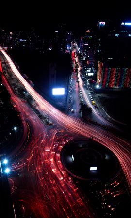 74420 Screensavers and Wallpapers Roads for phone. Download Night City, Roads, Long-Term Exposure, Night, View From Above, Cities pictures for free