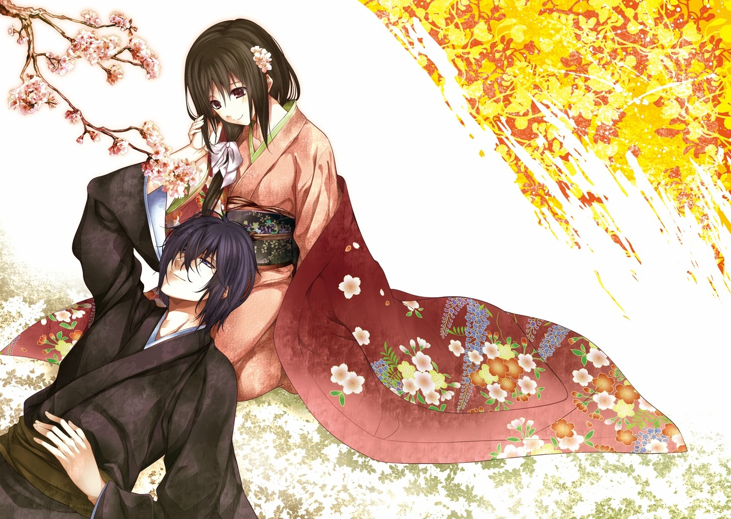 144073壁紙のダウンロード日本製アニメ, 男, やつ, 女の子, 優しさ, 愛, 着物-スクリーンセーバーと写真を無料で