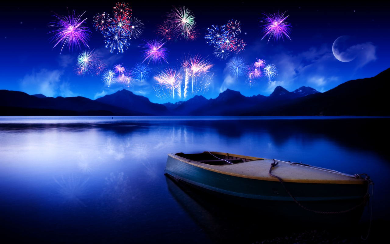 13512 скачать обои Праздники, Пейзаж, Вода, Ночь, Салют - заставки и картинки бесплатно