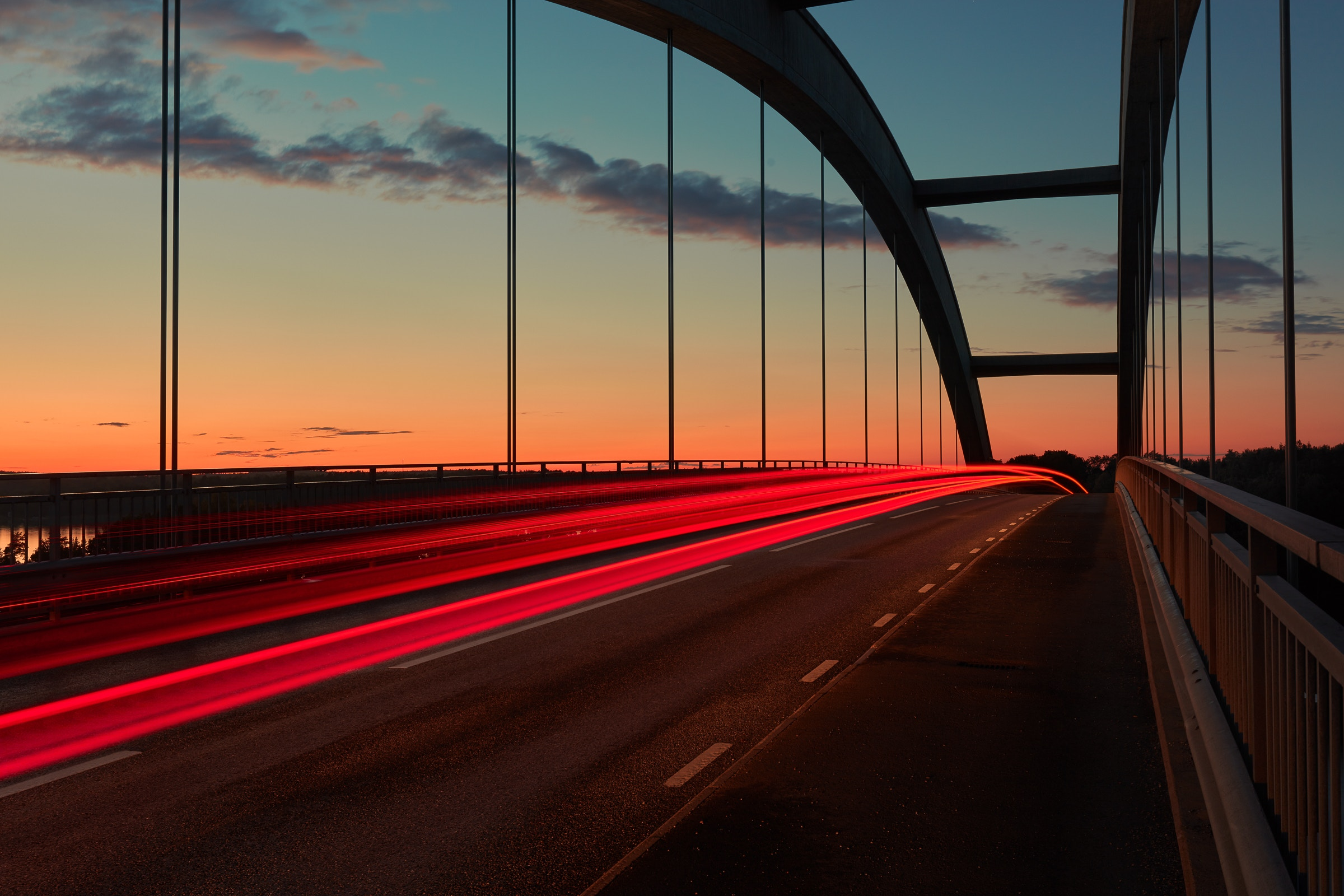 59839 скачать обои Мост, Закат, Небо, Разметка, Города - заставки и картинки бесплатно