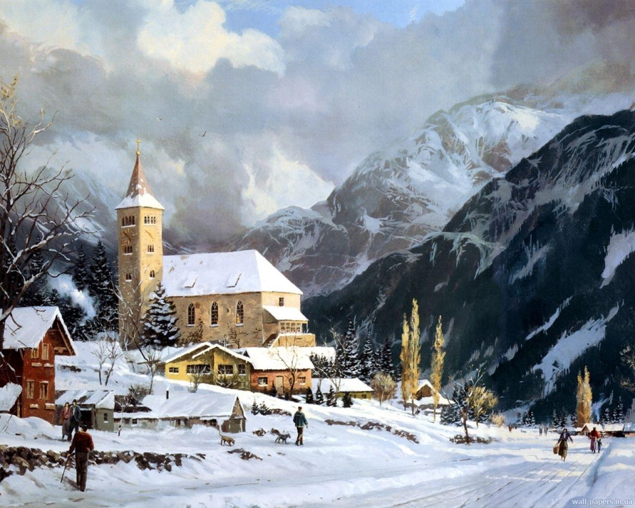 8026 скачать обои Пейзаж, Зима, Дома, Небо, Горы, Облака - заставки и картинки бесплатно