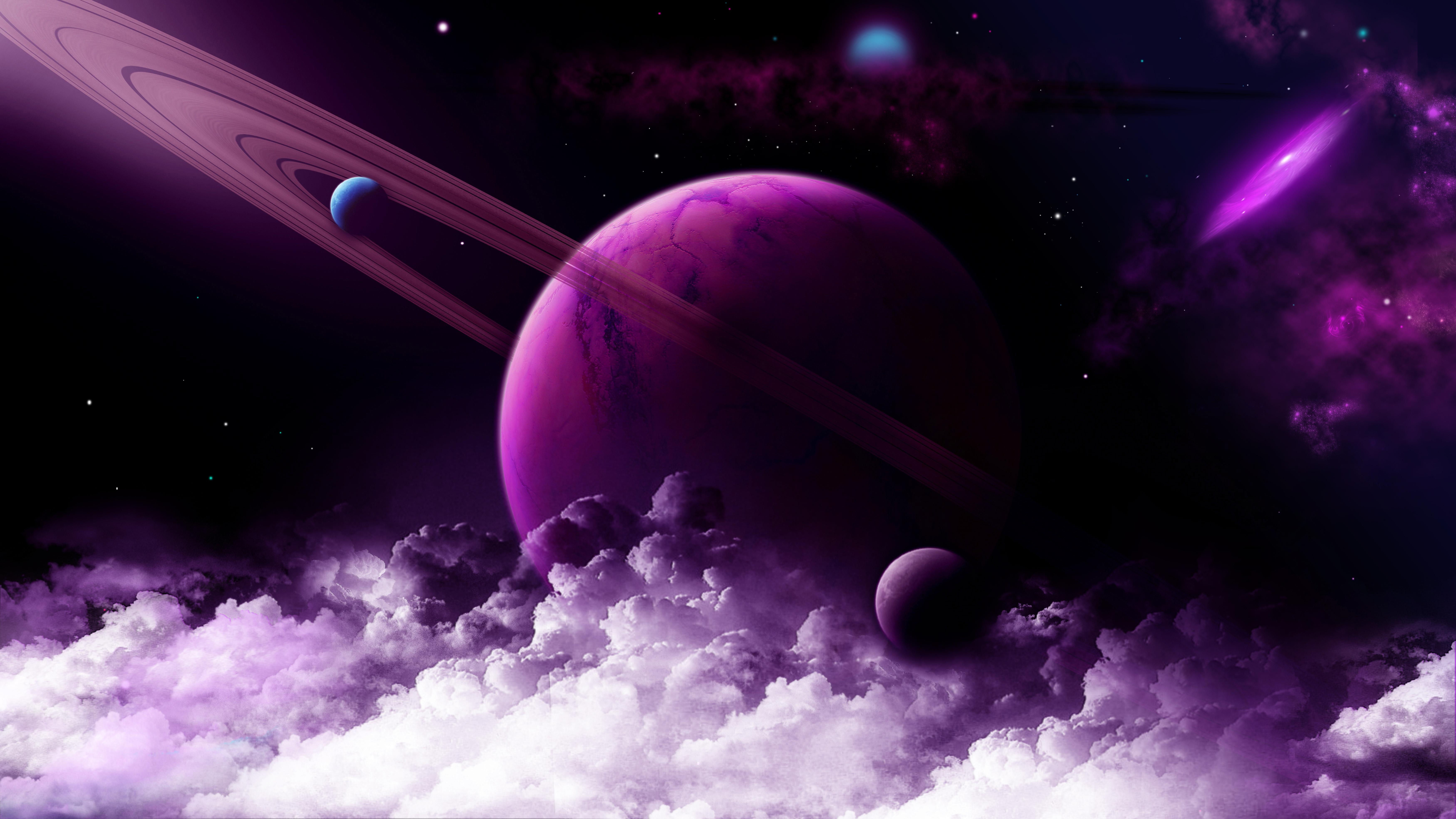 91793 免費下載壁紙 行星, 宇宙, 云, 戒指, 紫色的 屏保和圖片