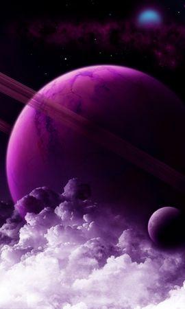 91793 baixar papel de parede Planeta, Anel, Roxo, Violeta, Nuvens, Universo - protetores de tela e imagens gratuitamente