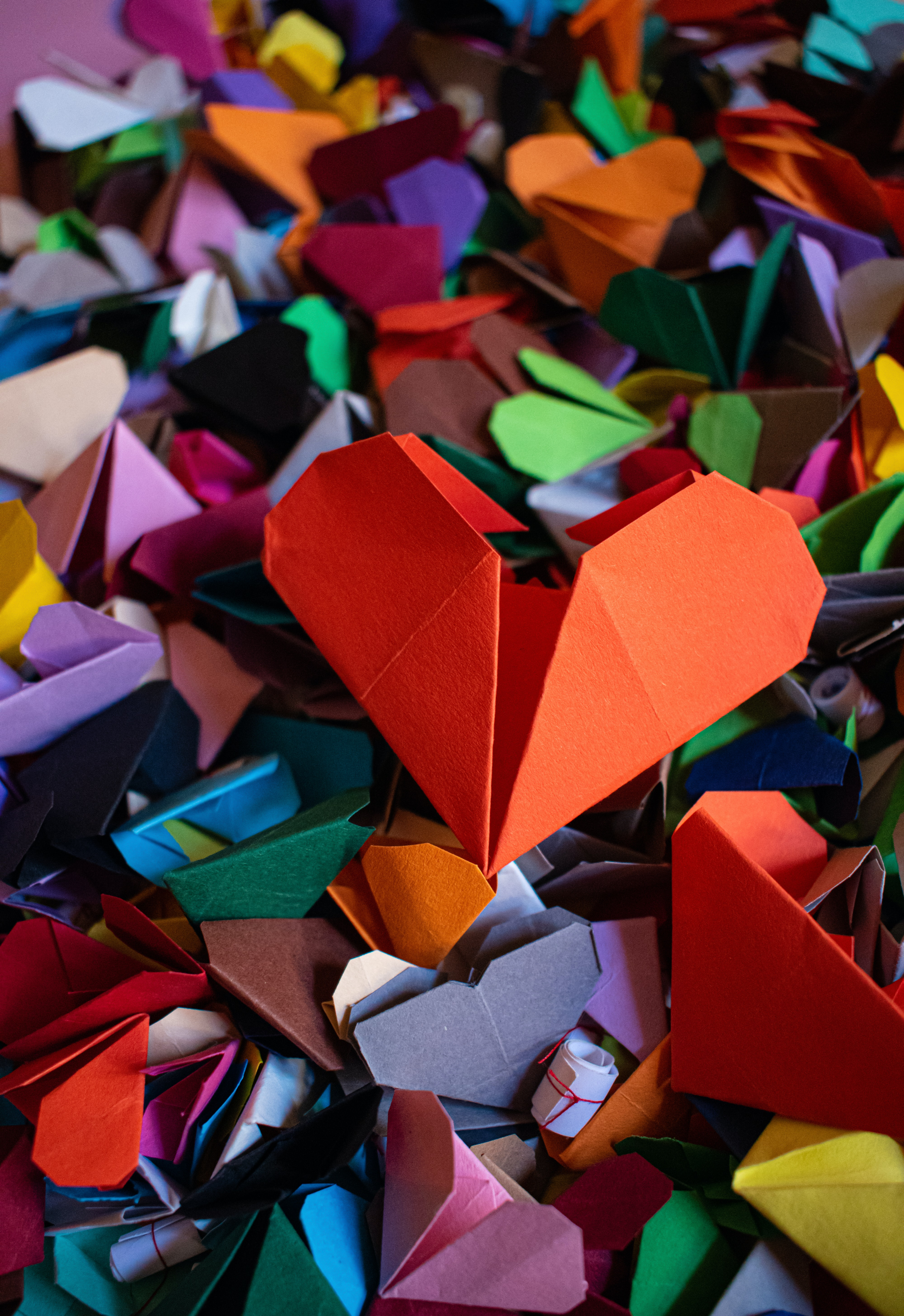 144153 Screensavers and Wallpapers Hearts for phone. Download Hearts, Love, Multicolored, Motley, Paper, Origami pictures for free