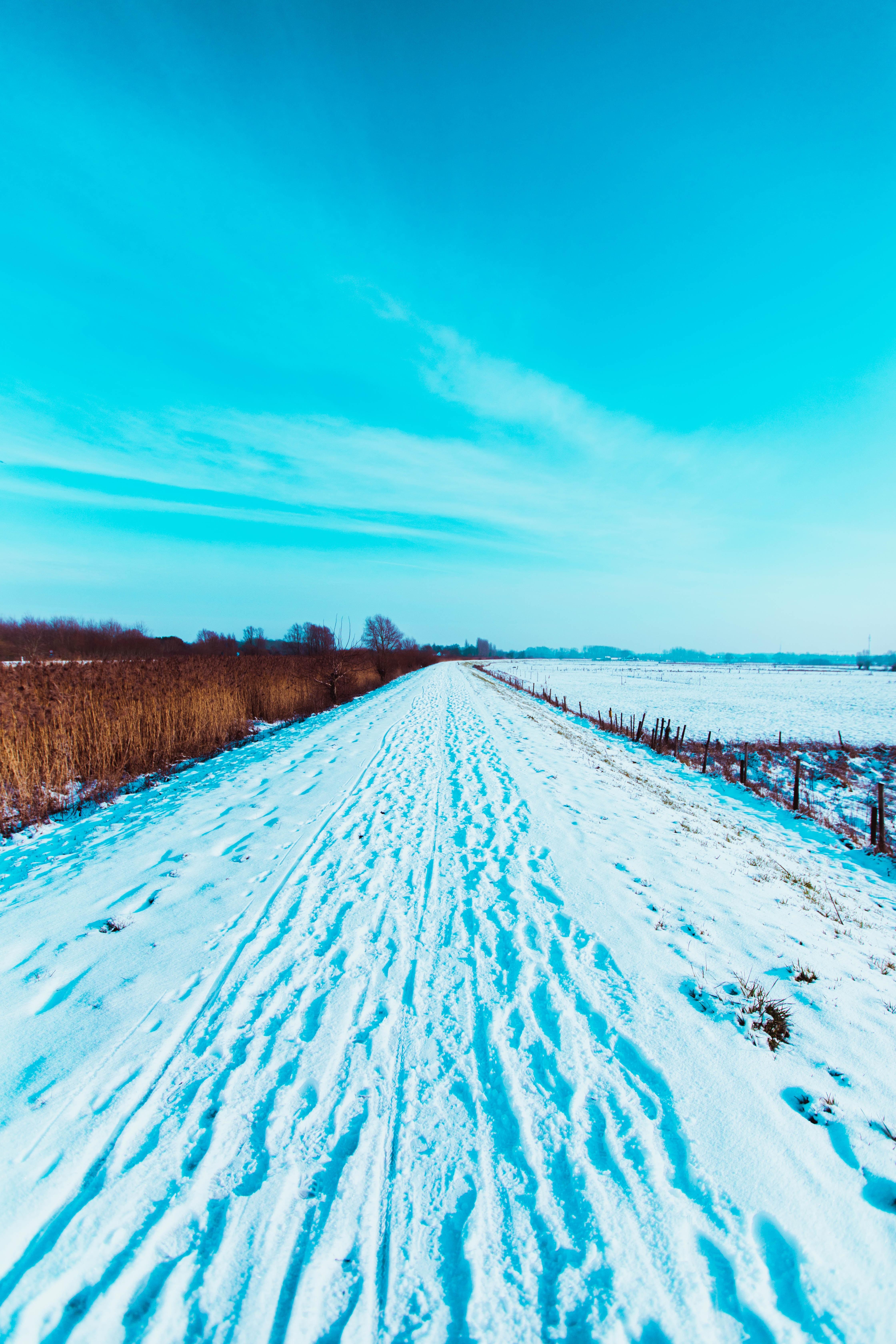 62145 Hintergrundbild 1024x768 kostenlos auf deinem Handy, lade Bilder Landschaft, Winterreifen, Natur, Schnee, Straße, Feld, Spuren 1024x768 auf dein Handy herunter