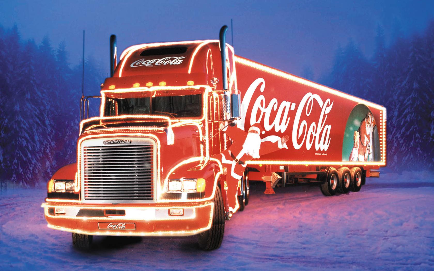 19600 Hintergrundbild herunterladen Marken, Transport, Auto, Winterreifen, Coca-Cola, Trucks - Bildschirmschoner und Bilder kostenlos