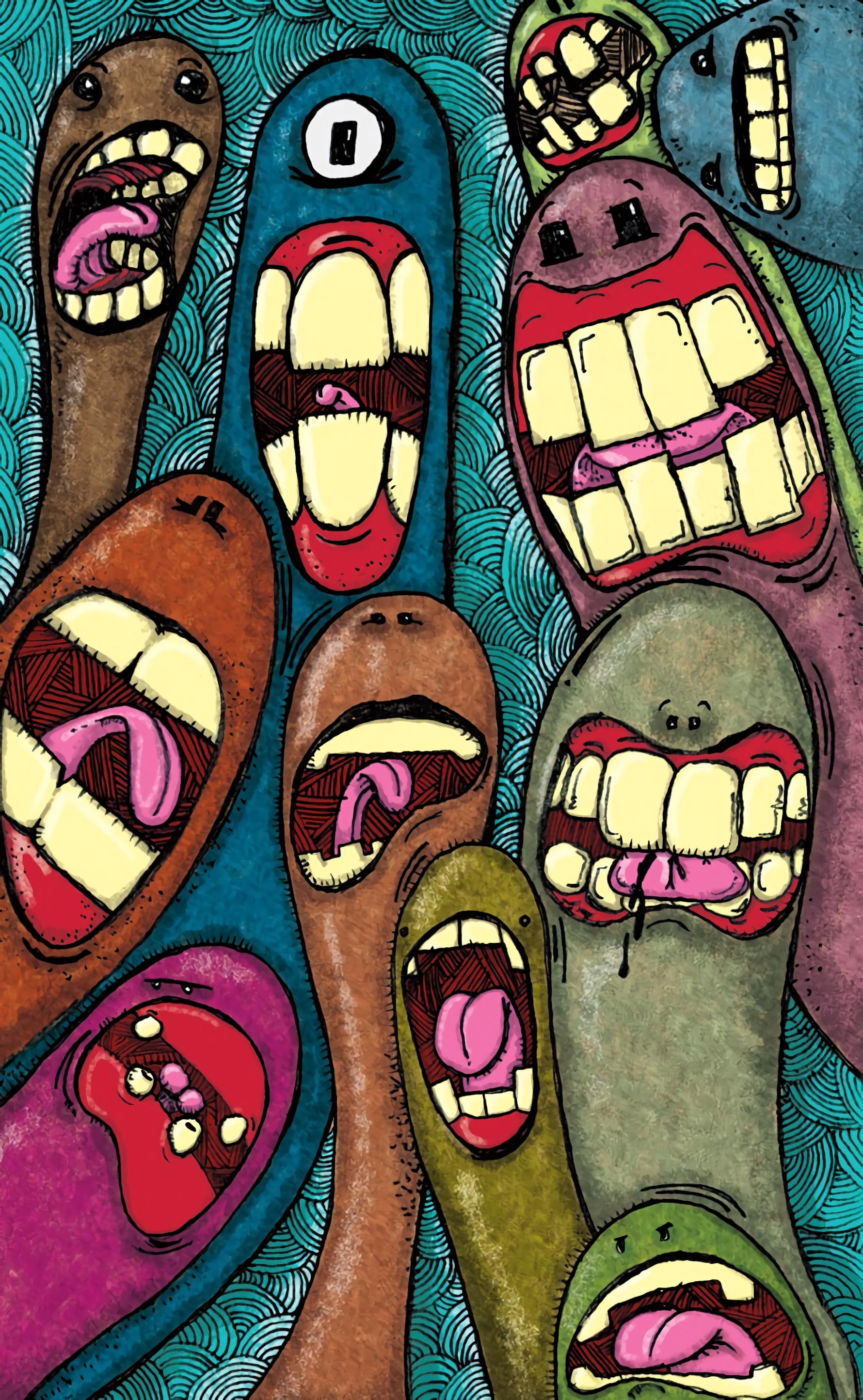 137091 Protetores de tela e papéis de parede Monstros em seu telefone. Baixe Dente, Arte, Monstros, Multicolorido, Motley, Dentes fotos gratuitamente