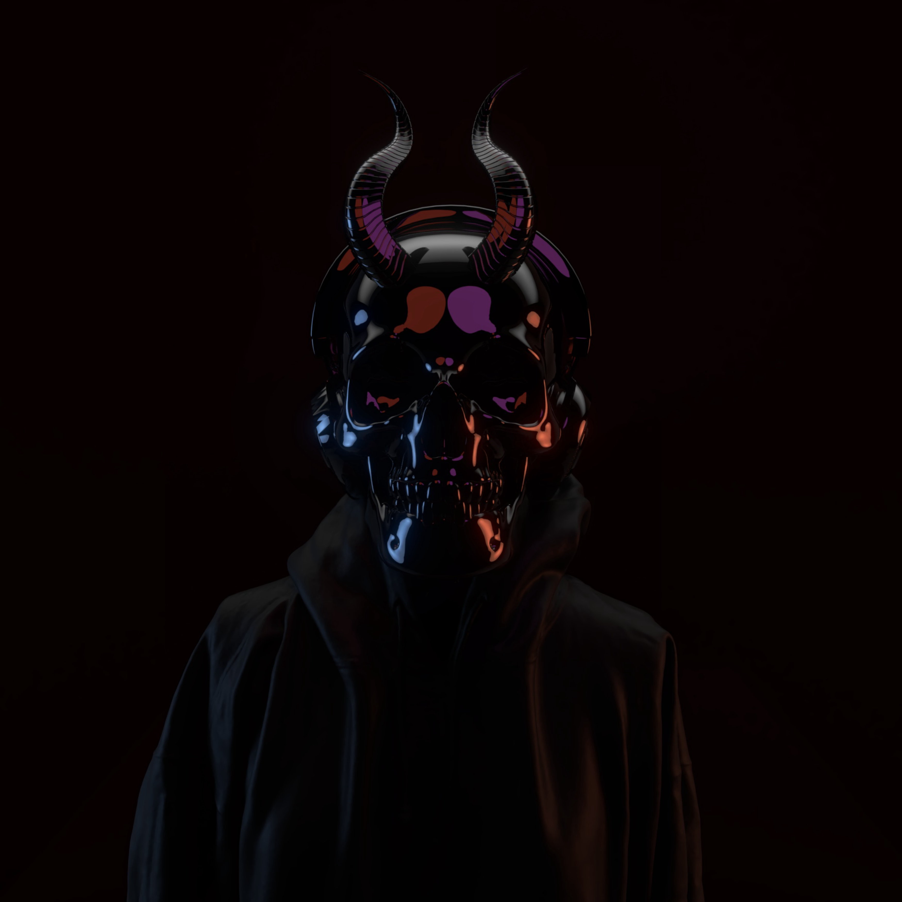 137788 download wallpaper Dark, Skull, Mask, Horns screensavers and pictures for free