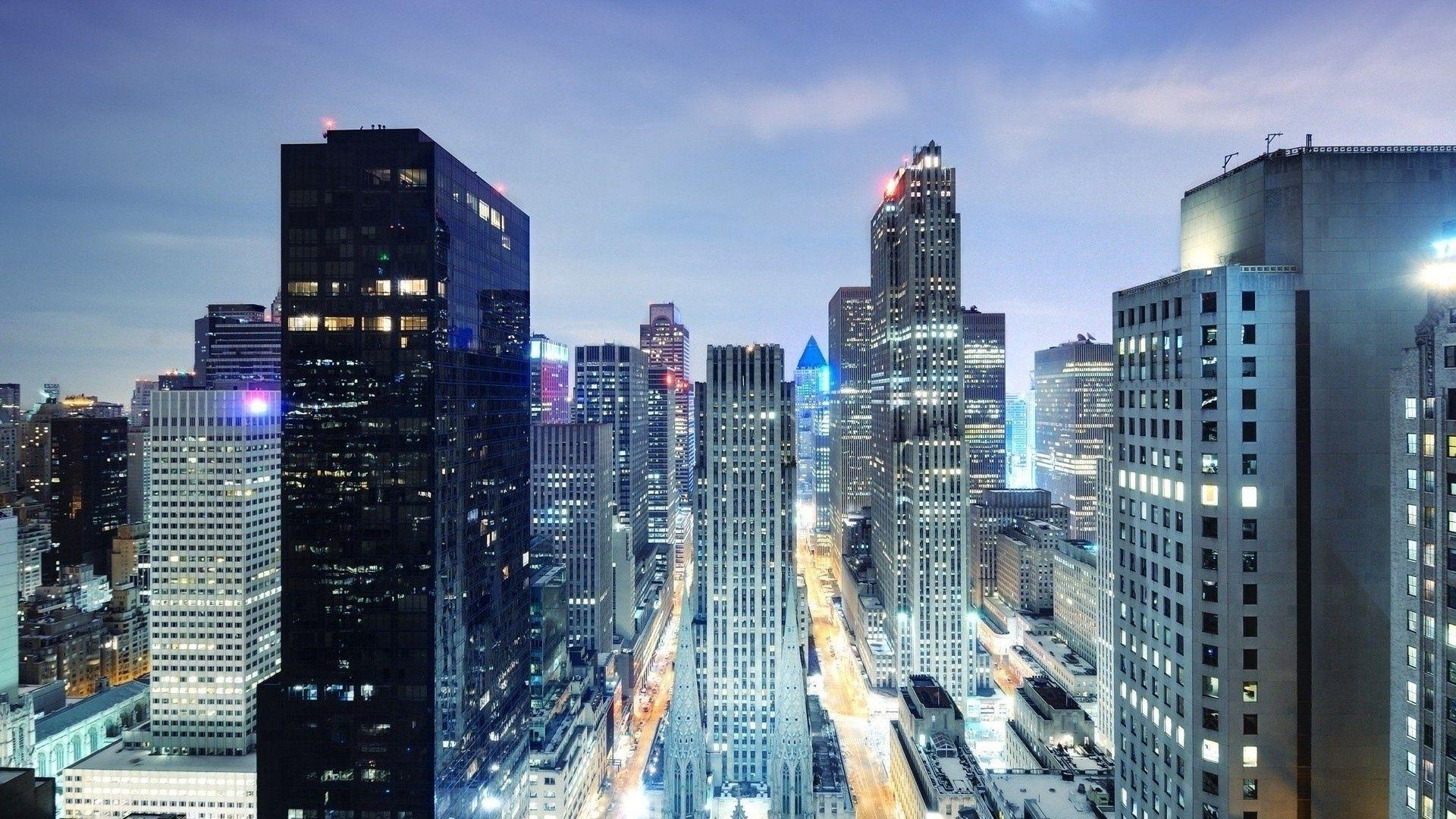 101368 Hintergrundbild 240x400 kostenlos auf deinem Handy, lade Bilder Städte, Übernachtung, Wolkenkratzer, Blick Von Oben, Scheinen, Licht, New York 240x400 auf dein Handy herunter