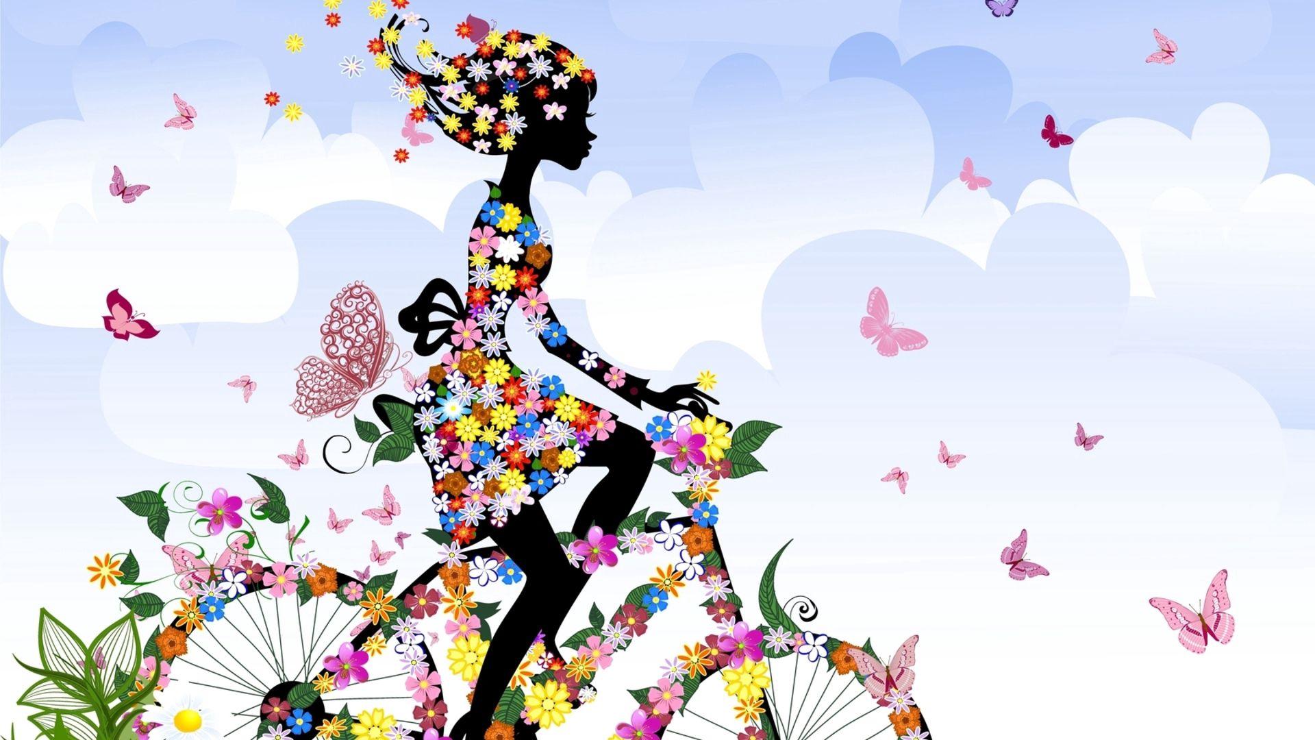 70201 скачать обои Бабочки, Велосипед, Цветы, Разное, Девушка - заставки и картинки бесплатно