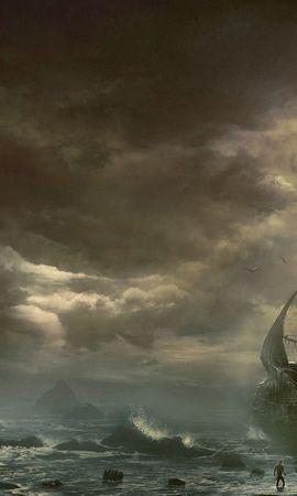 103903 baixar papel de parede Fantasia, Nuvens, Nuvem, Mar, Navio, Barco A Vela, Sailfish, Destruído, Arruinado, Montanhas - protetores de tela e imagens gratuitamente