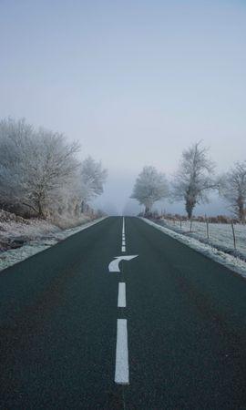 102718 télécharger le fond d'écran Nature, Route, Brouillard, Asphalte, Flèche, Gel, Givre, Balisage - économiseurs d'écran et images gratuitement