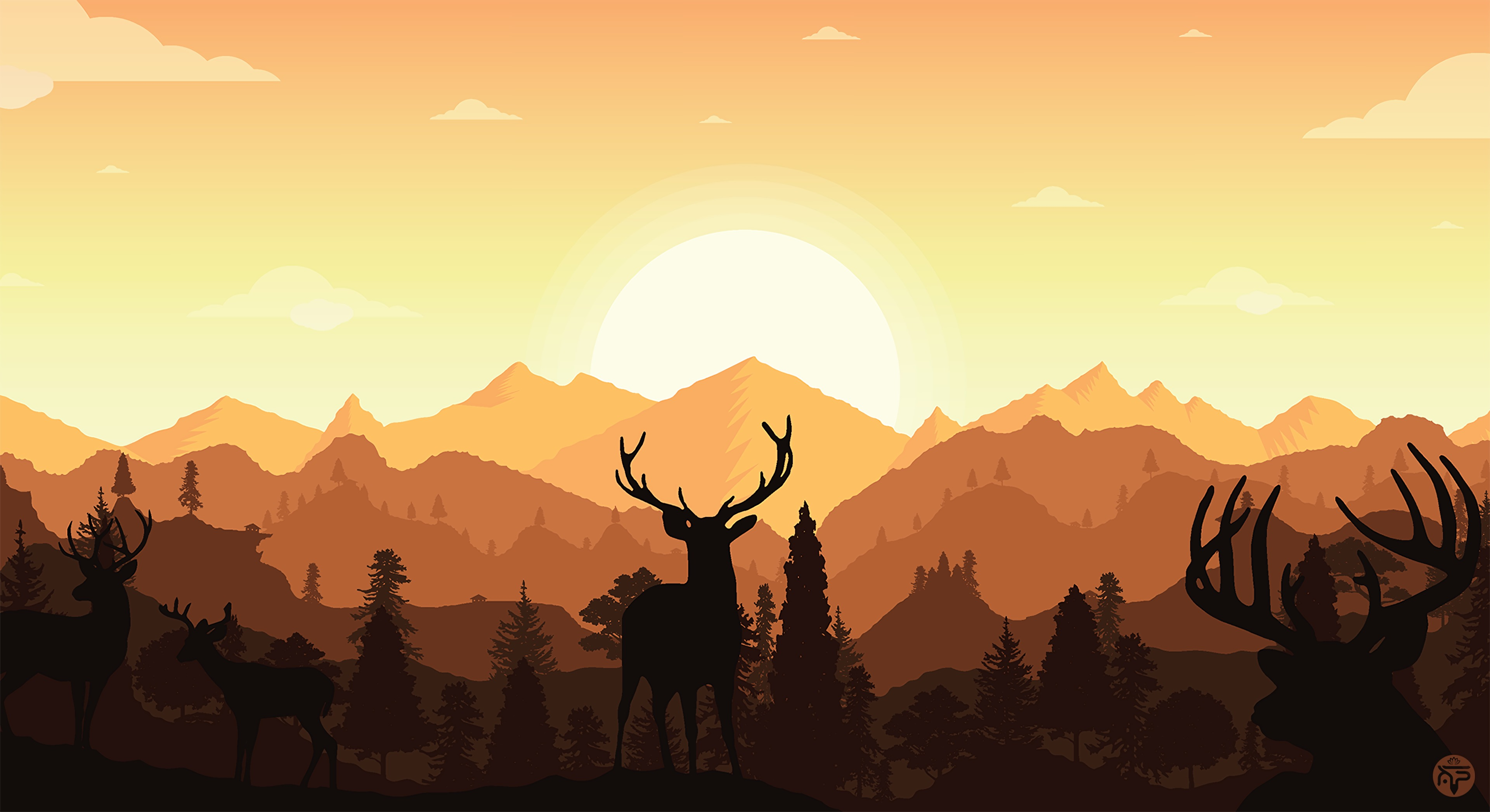 148475 download wallpaper Vector, Deers, Horns, Silhouette, Art, Mountains screensavers and pictures for free