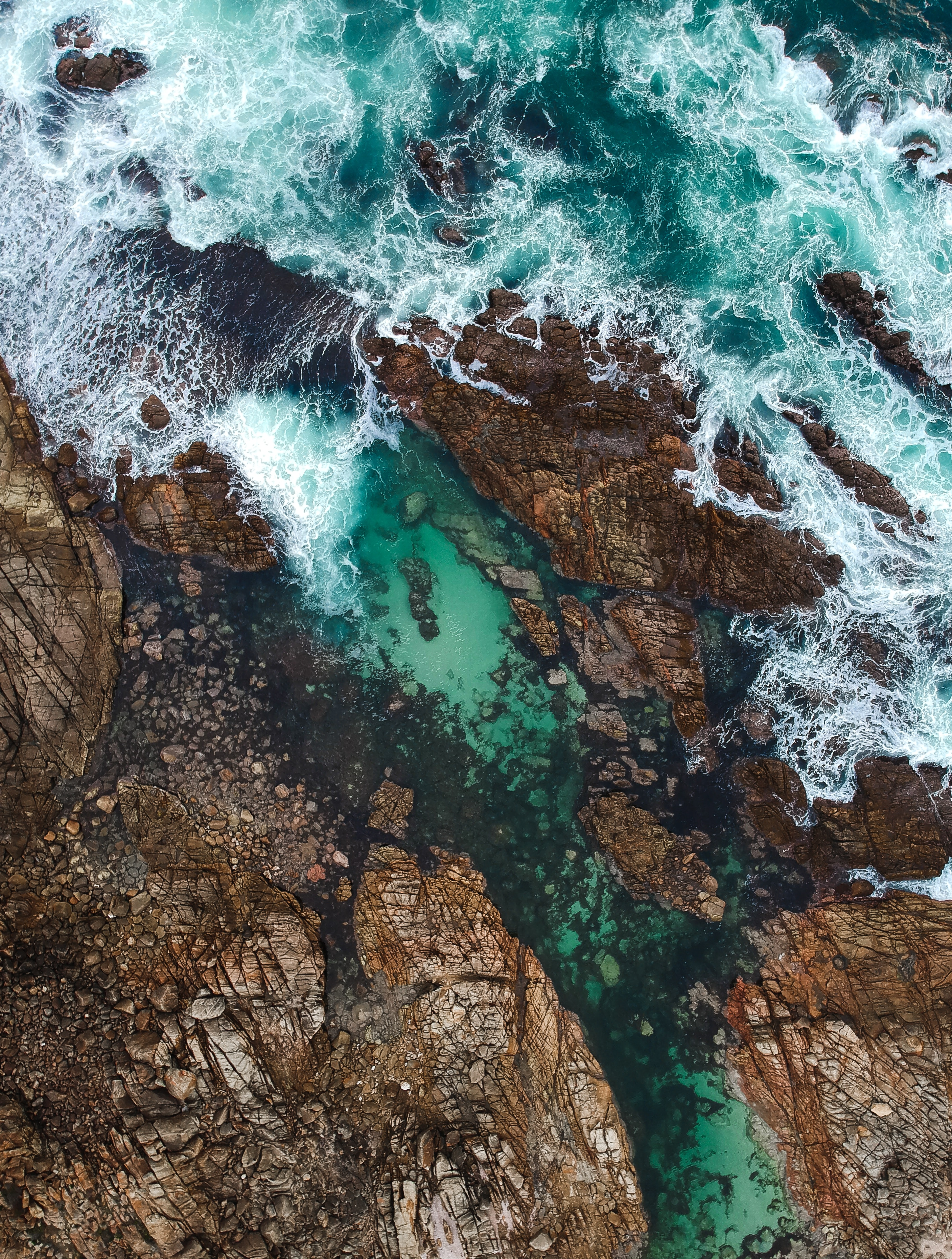 64211 Screensavers and Wallpapers Ocean for phone. Download Ocean, Nature, Waves, Rocks, View From Above, Coast pictures for free