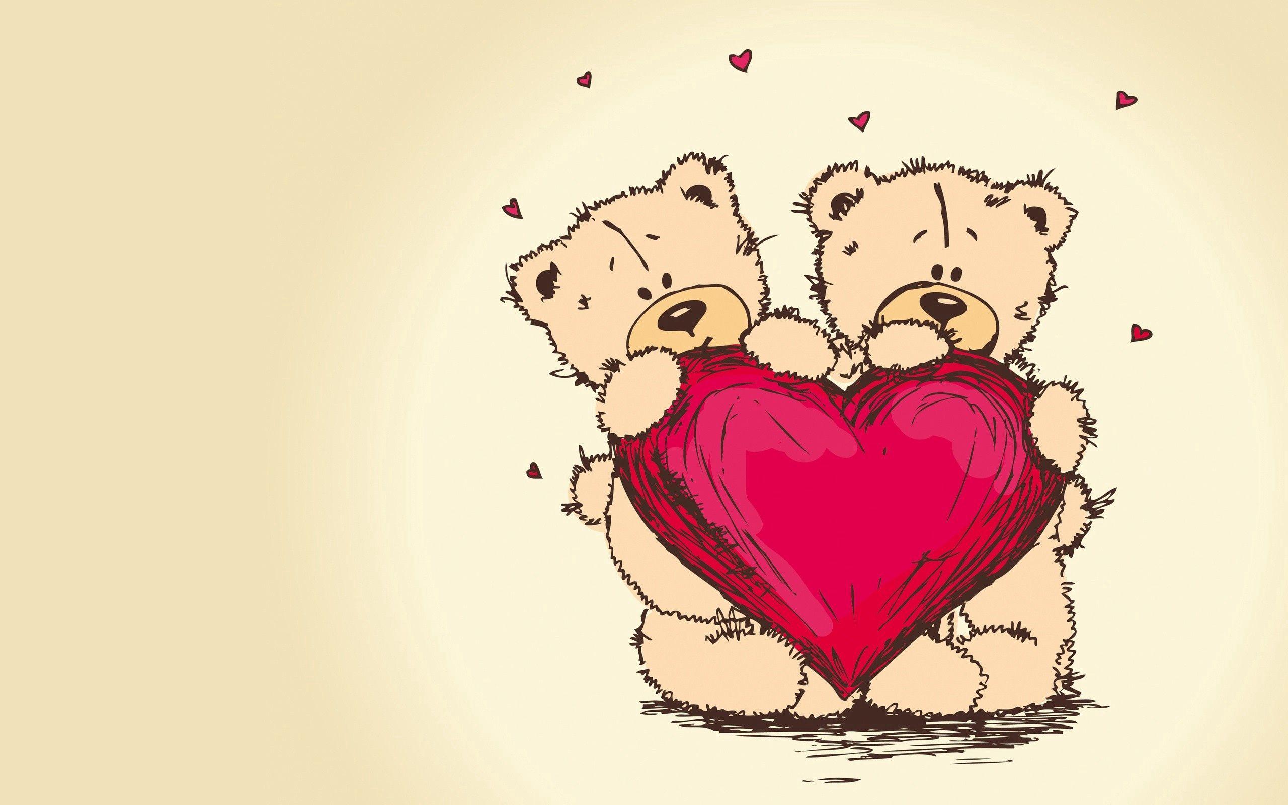 146248 Hintergrundbild herunterladen Herzen, Liebe, Paar, Bild, Zeichnung, Romantik, Ein Herz, Teddybären - Bildschirmschoner und Bilder kostenlos