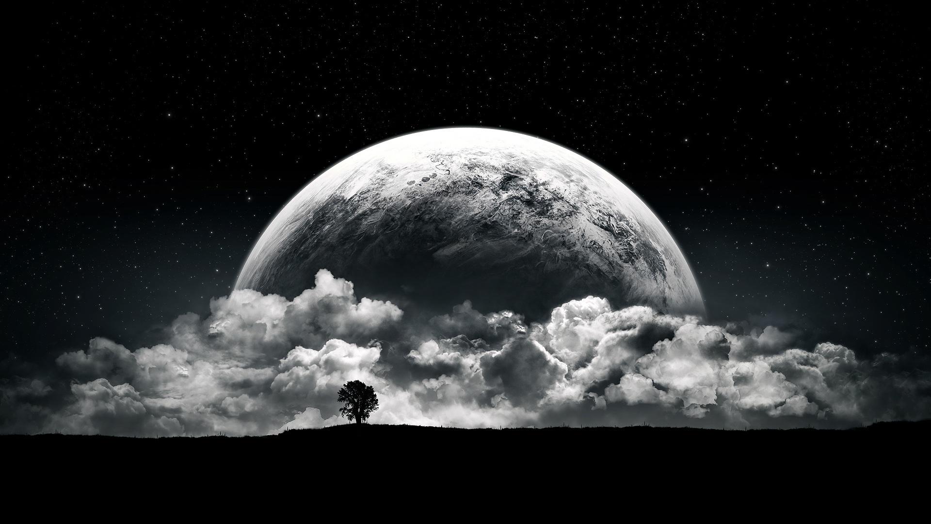 19067 скачать обои Пейзаж, Ночь, Облака, Луна - заставки и картинки бесплатно