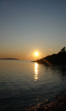 2199 download wallpaper Landscape, Sunset, Sky, Sea, Sun, Beach screensavers and pictures for free