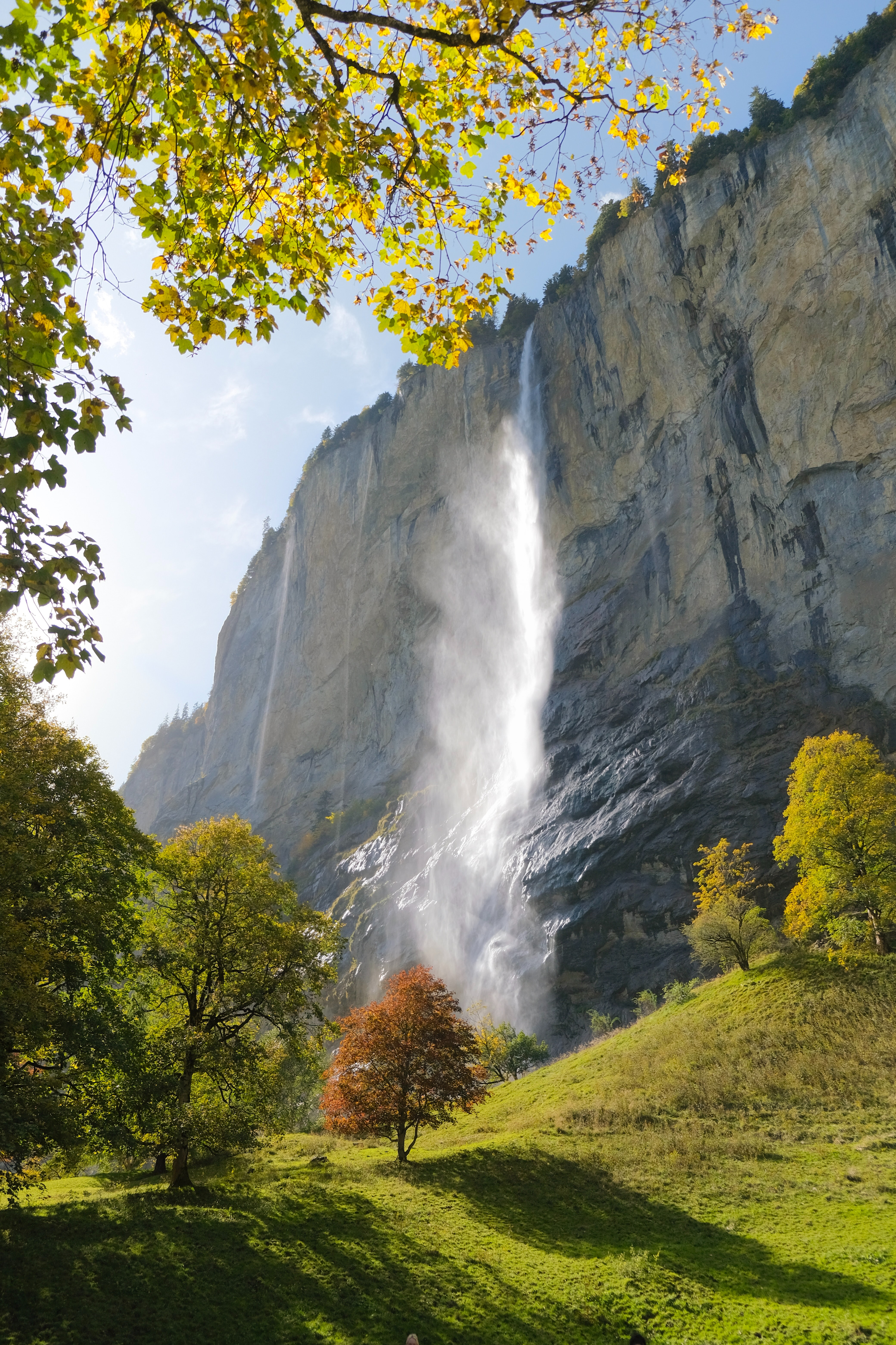 76619 download wallpaper Landscape, Nature, Trees, Rock, Waterfall screensavers and pictures for free