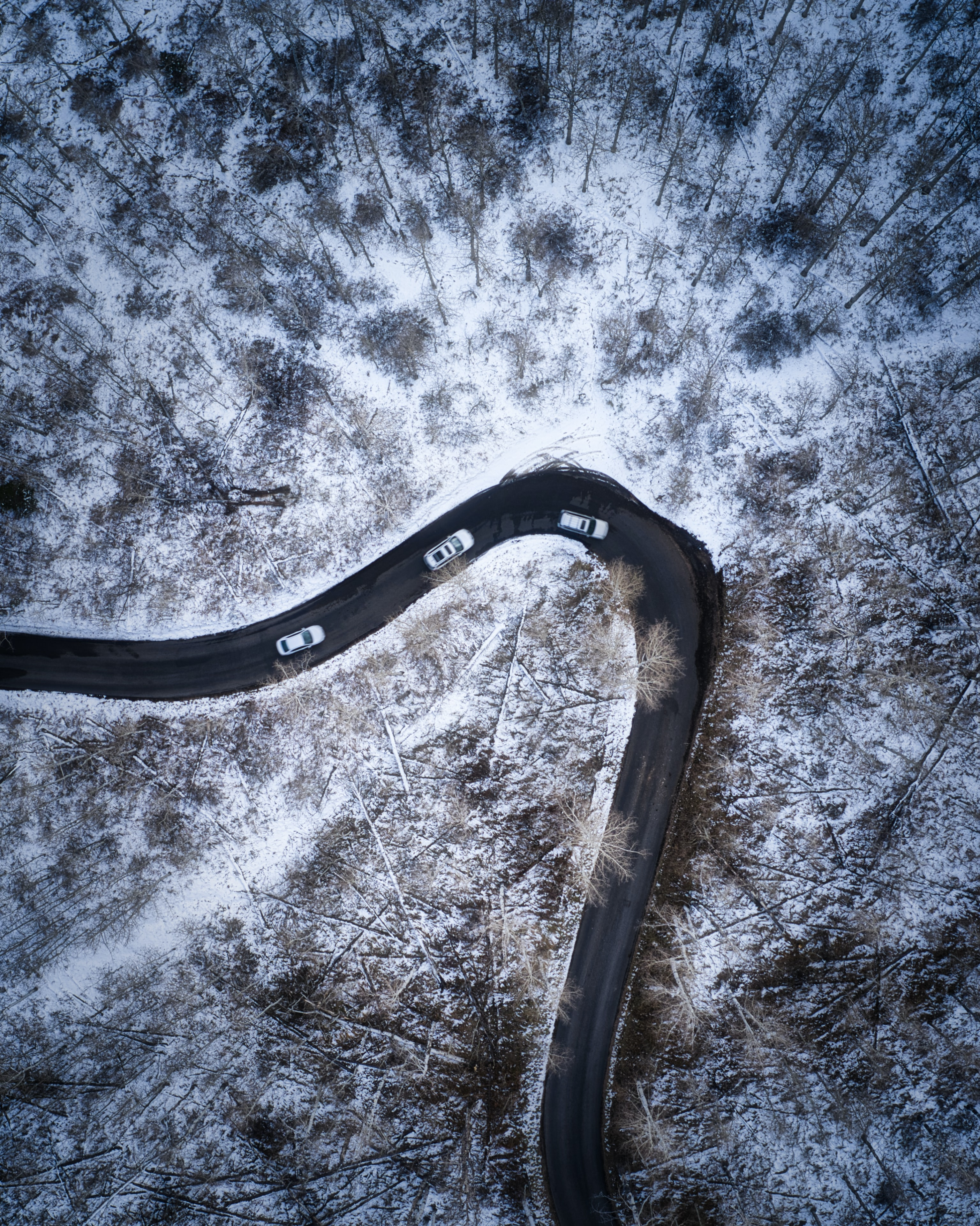 54767 download wallpaper Nature, Road, View From Above, Snow Covered, Snowbound, Snow, Auto screensavers and pictures for free