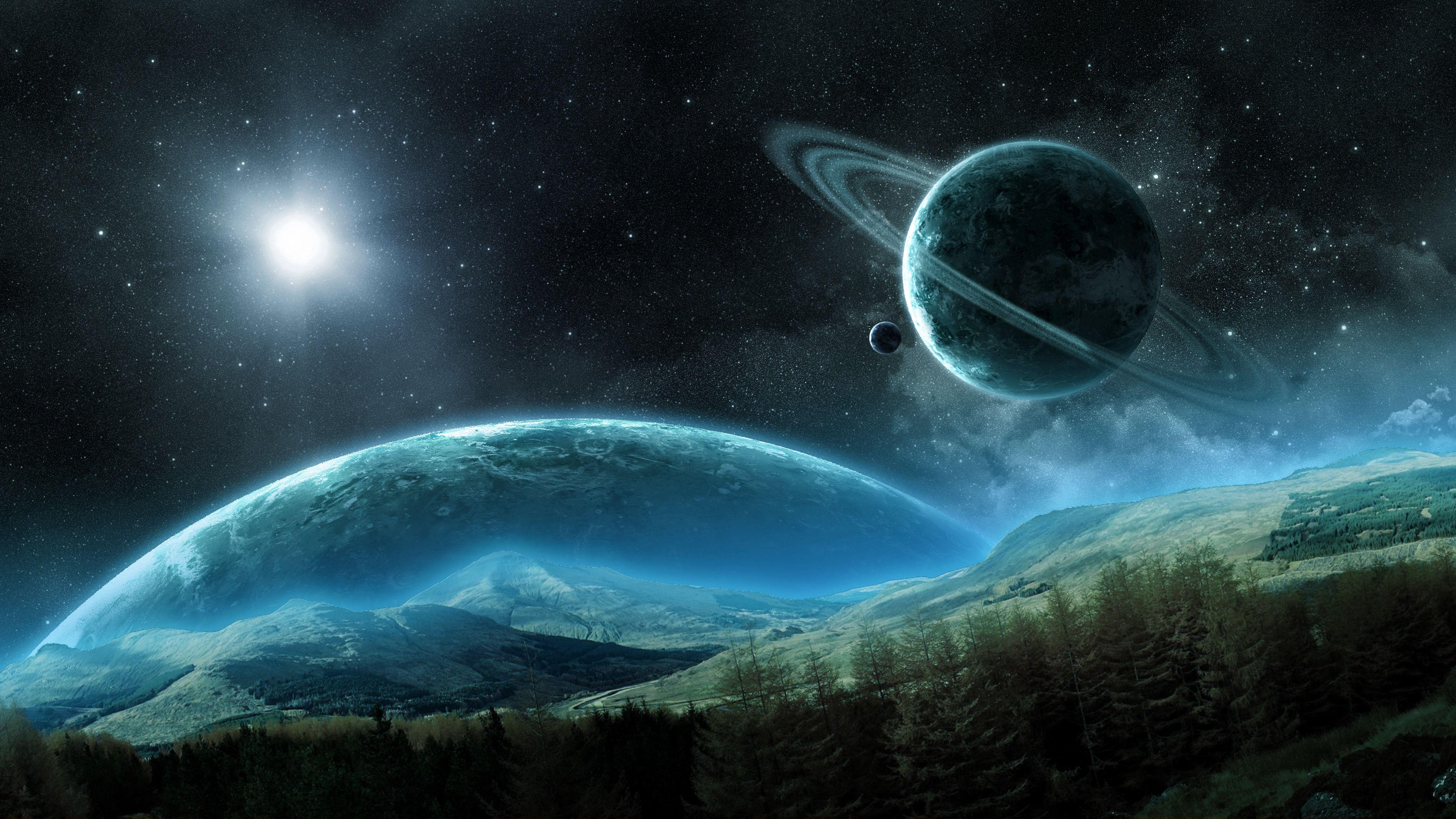 110255 скачать обои Космос, Космический, Кольца, Планета, Ночь, Спутник, Сатурн - заставки и картинки бесплатно