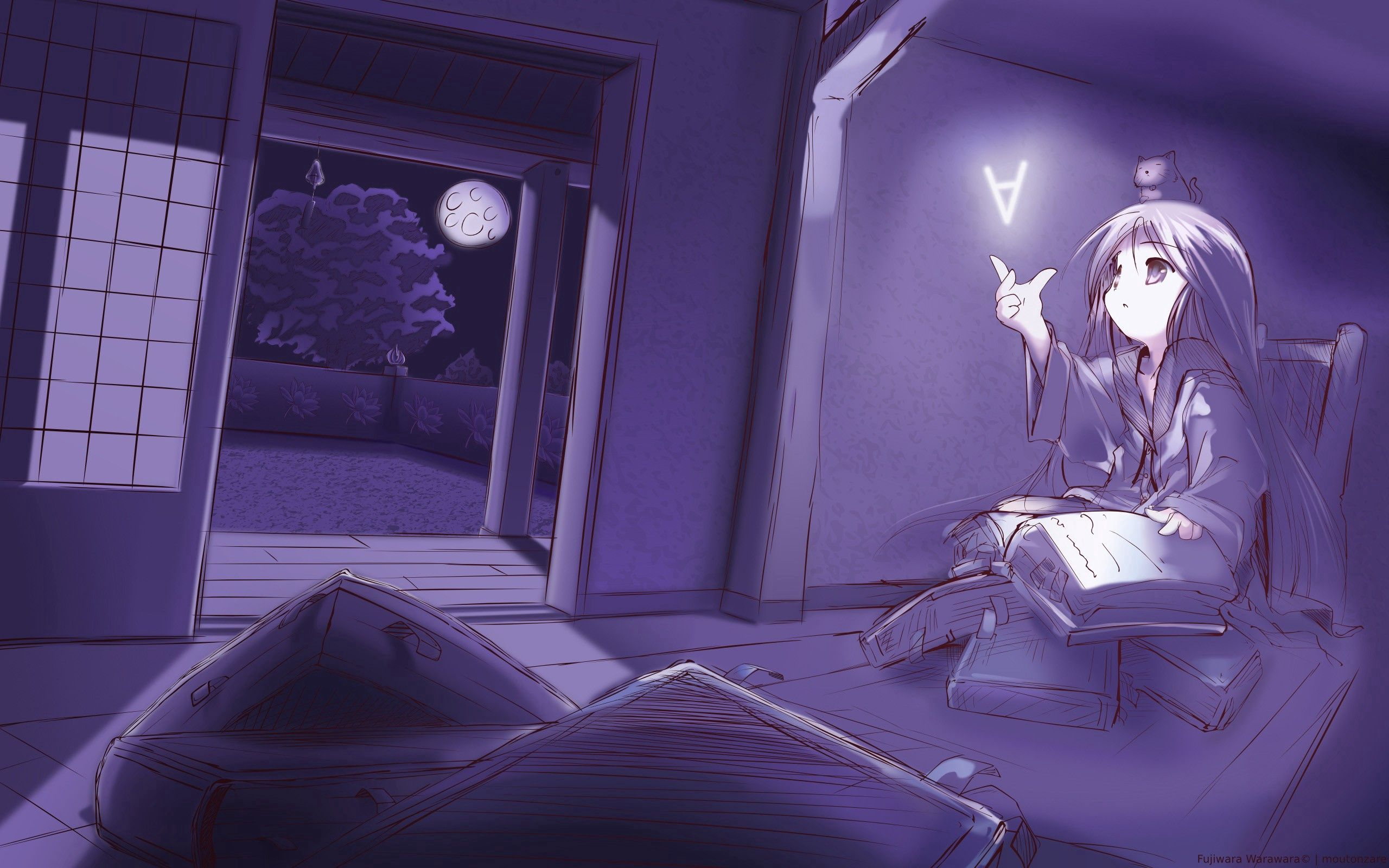 157958 download wallpaper Anime, Animeshka, Room, Book, To Read, Read, Evening screensavers and pictures for free