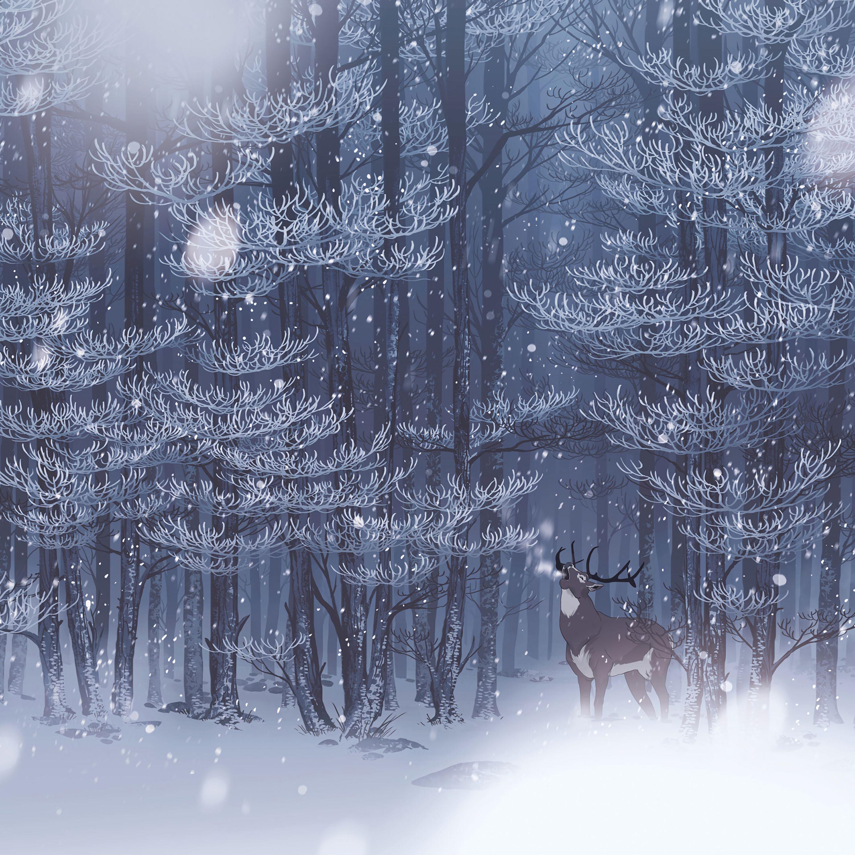 62739 Hintergrundbild 1024x768 kostenlos auf deinem Handy, lade Bilder Kunst, Schnee, Wald, Wilde Natur, Wildlife, Hirsch 1024x768 auf dein Handy herunter