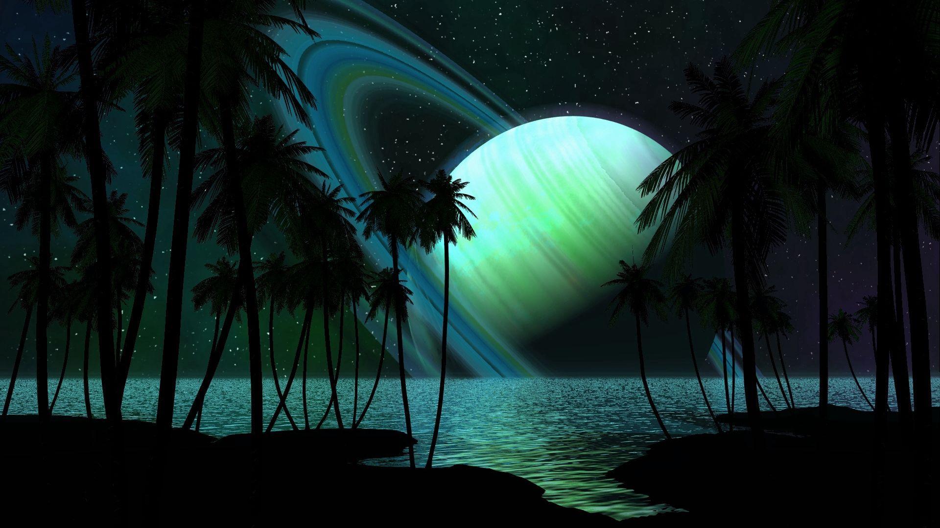 52757 скачать обои Свет, Абстракция, Небо, Пальмы, Планета, Сатурн - заставки и картинки бесплатно